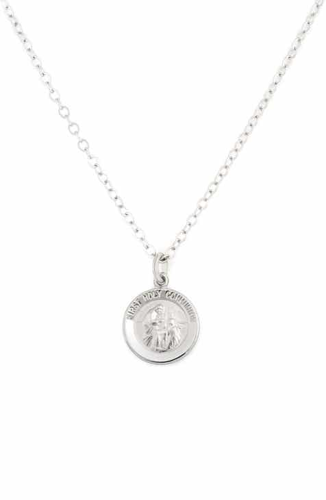 with jewels communion silver holy beautiful p asp first necklace girls cross