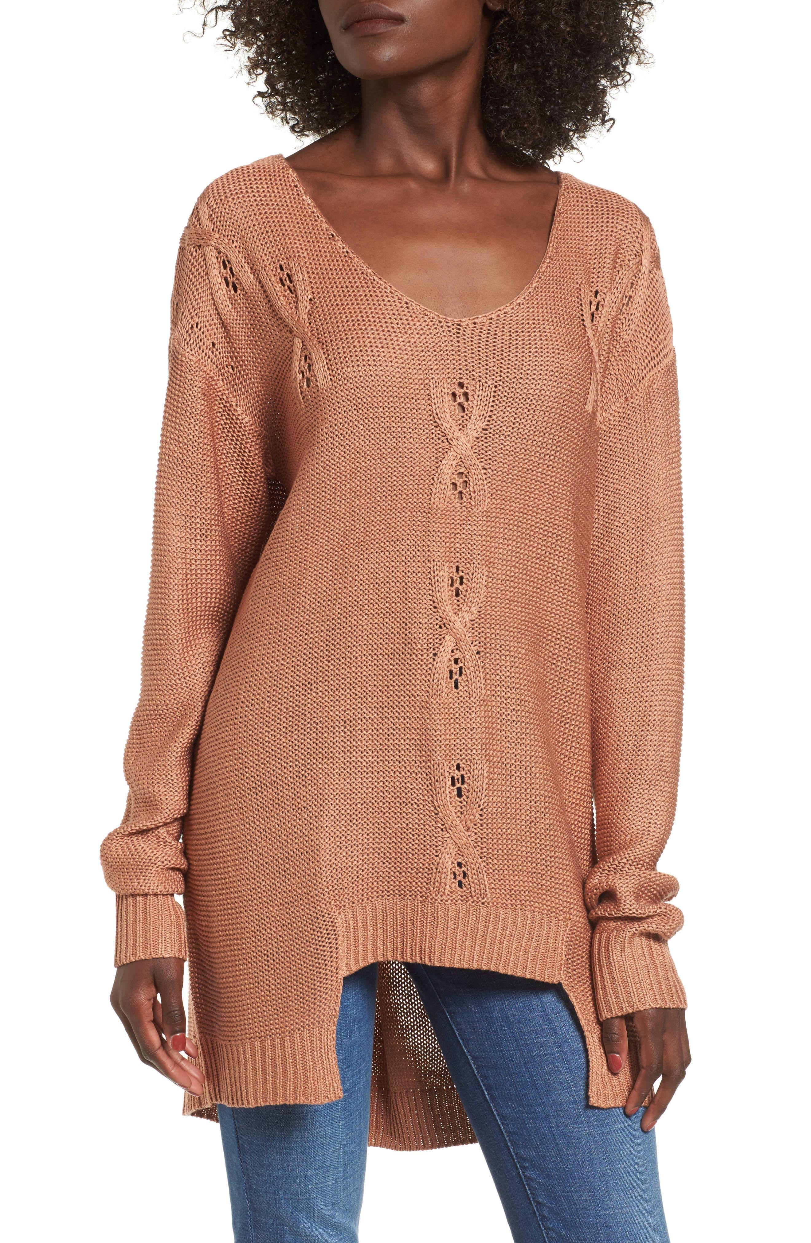 Patti Longline Sweater,                         Main,                         color, Deep Blush