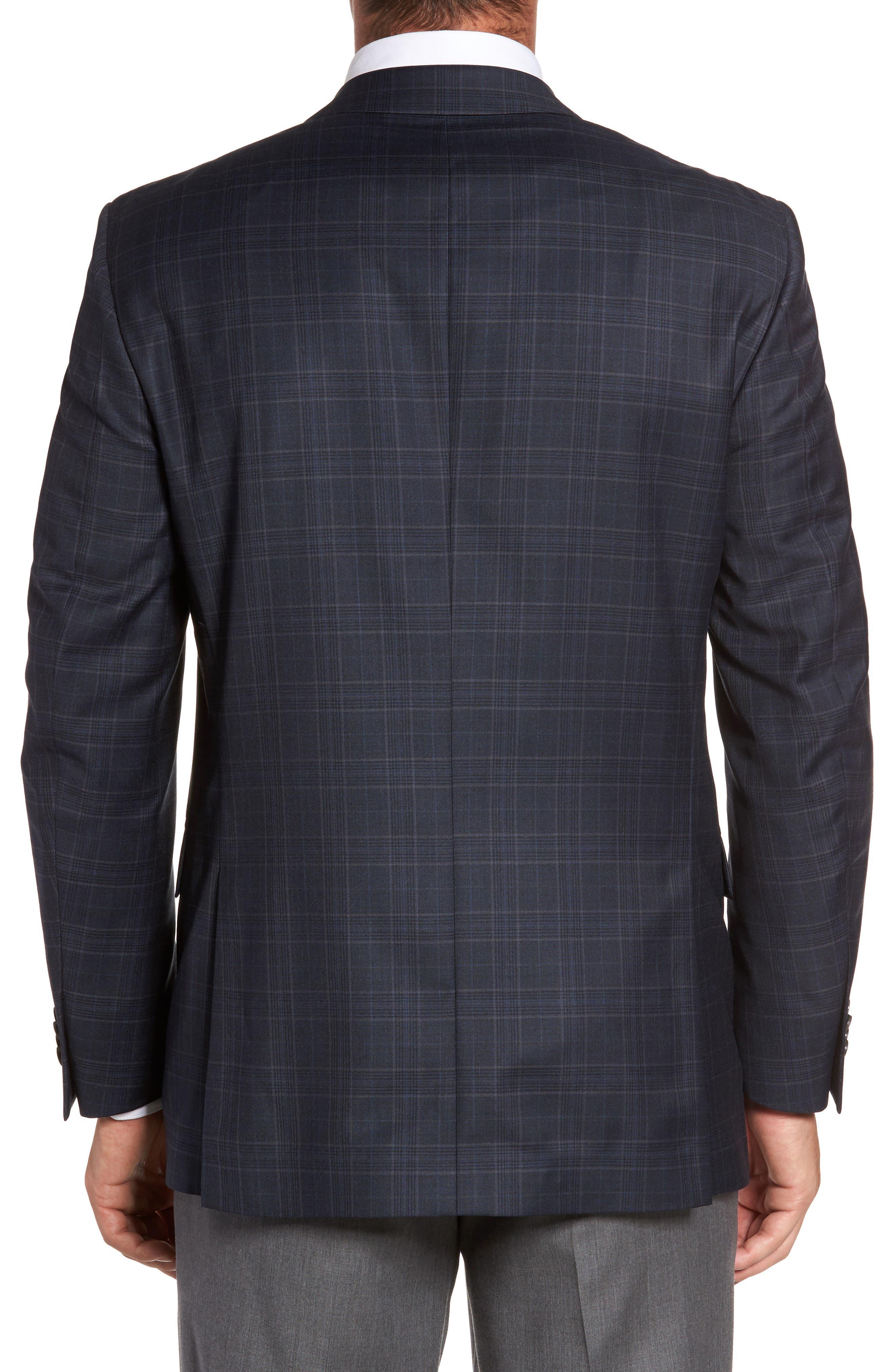 Flynn Classic Fit Plaid Wool Sport Coat,                             Alternate thumbnail 2, color,                             Navy