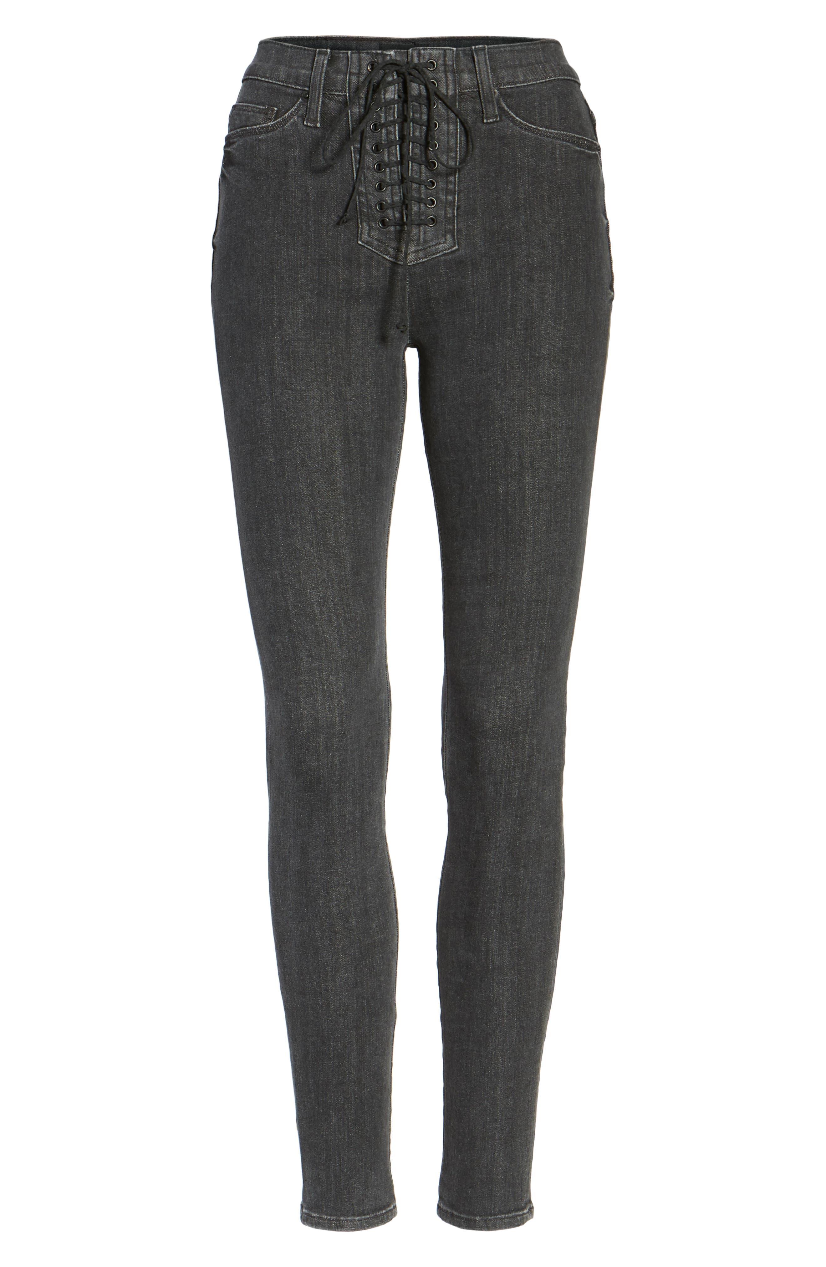 Alternate Image 6  - Hudson Jeans Bullocks High Waist Lace-Up Skinny Jeans (Disarm)