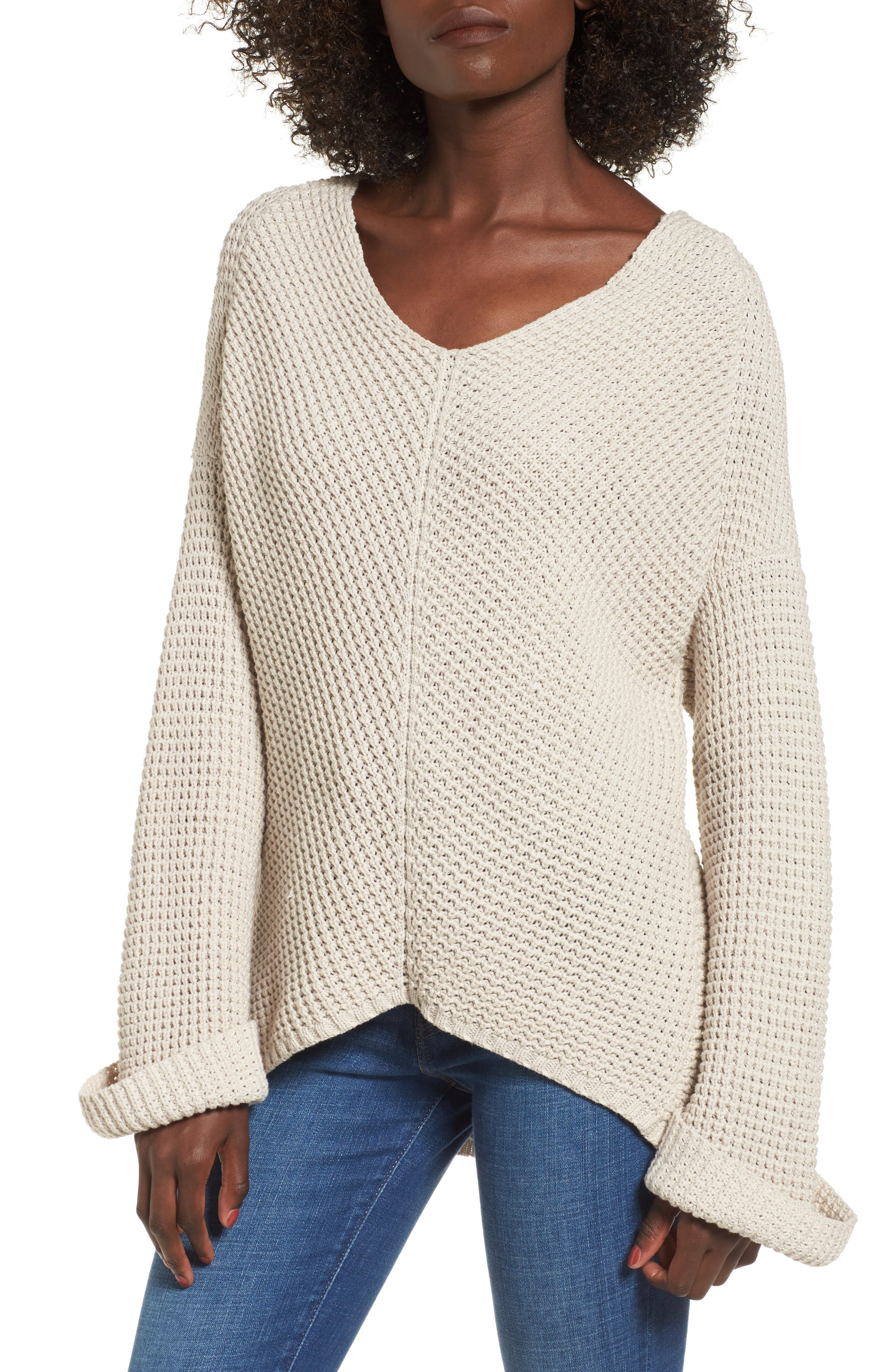 Adelia Bell Sleeve Sweater,                             Main thumbnail 1, color,                             Creme