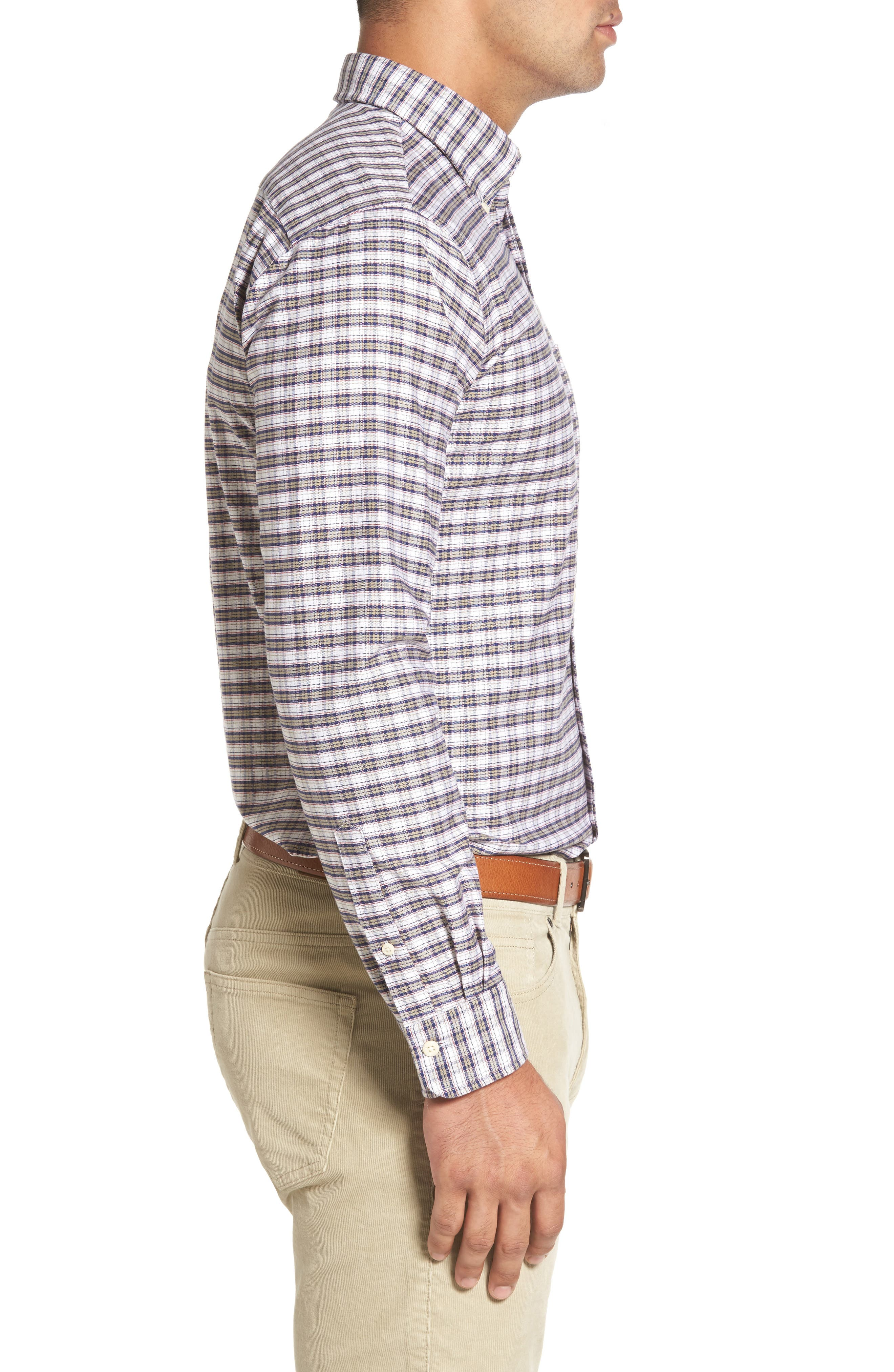 Crown Vintage Plaid Regular Fit Sport Shirt,                             Alternate thumbnail 3, color,                             Patriot Navy