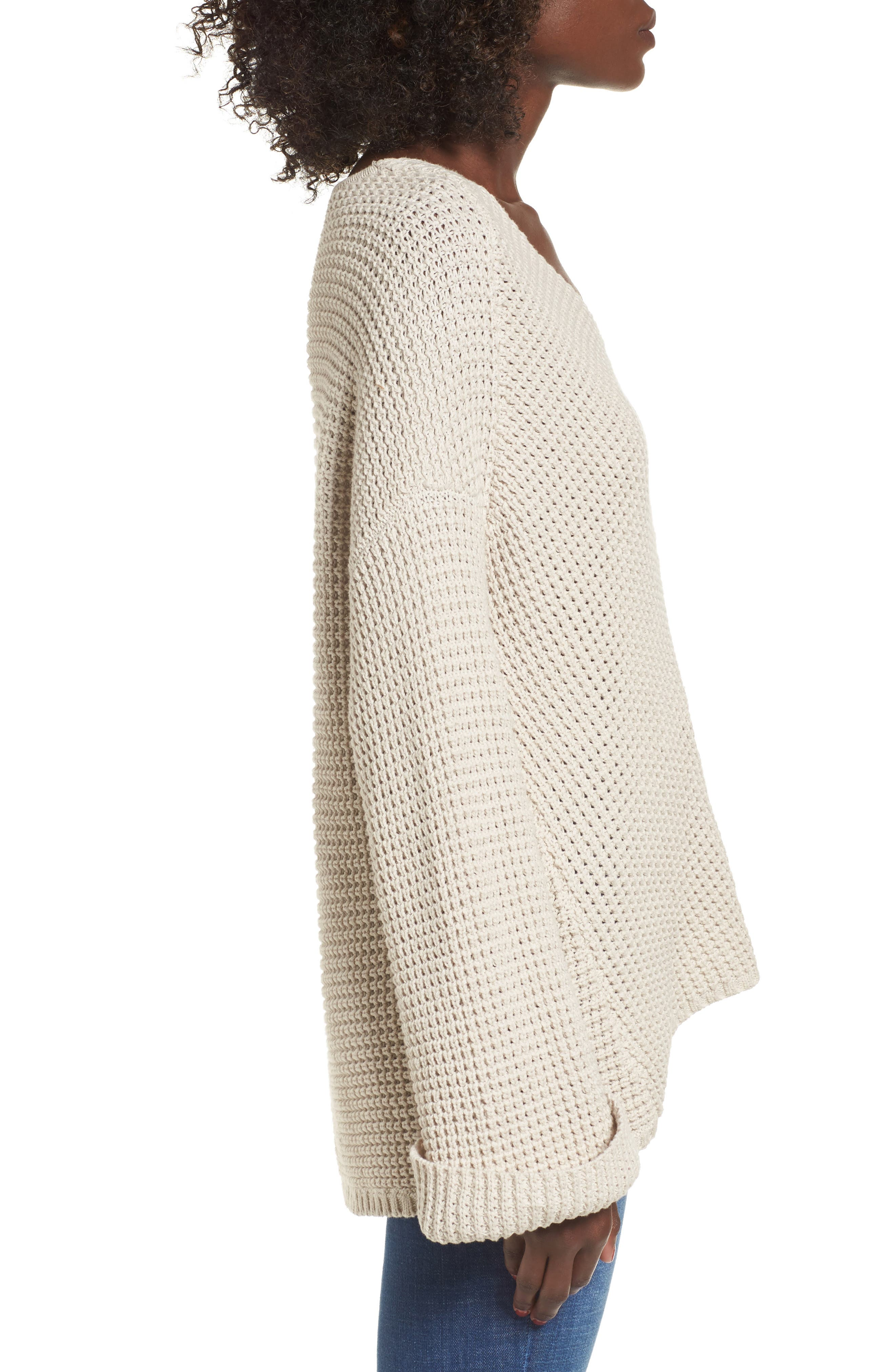 Adelia Bell Sleeve Sweater,                             Alternate thumbnail 3, color,                             Creme