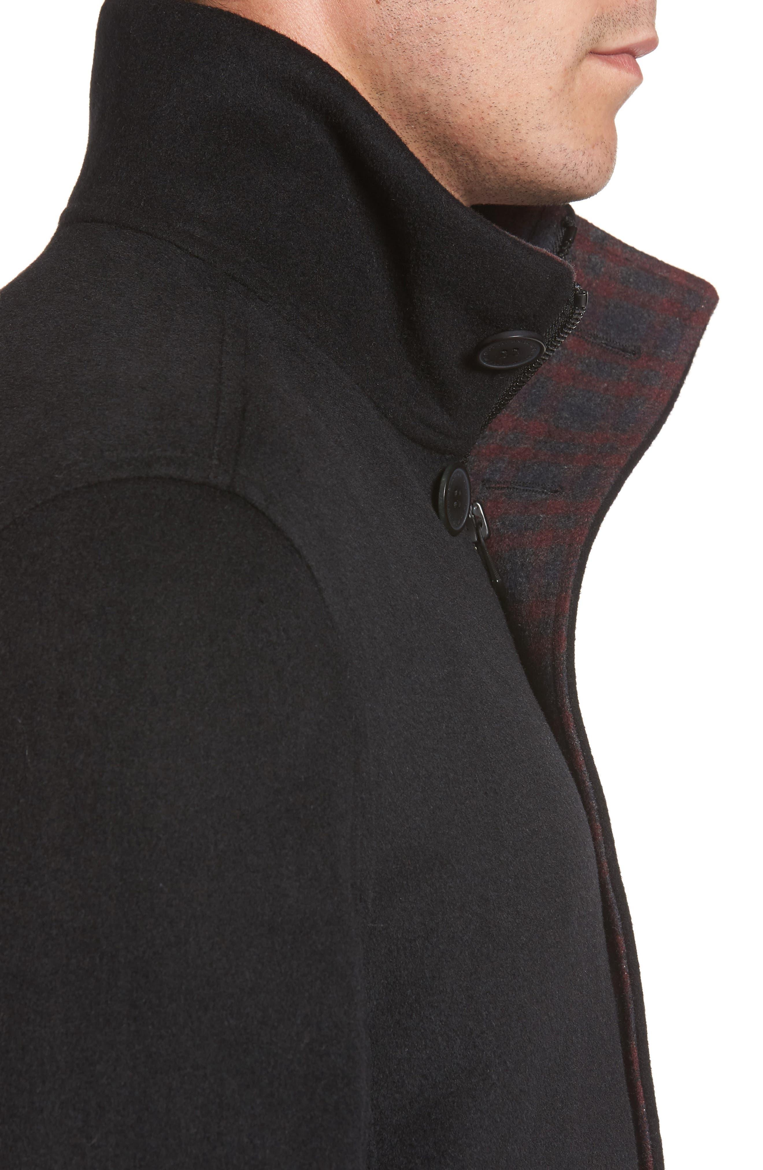 Double Face Wool Blend Car Coat,                             Alternate thumbnail 4, color,                             Black