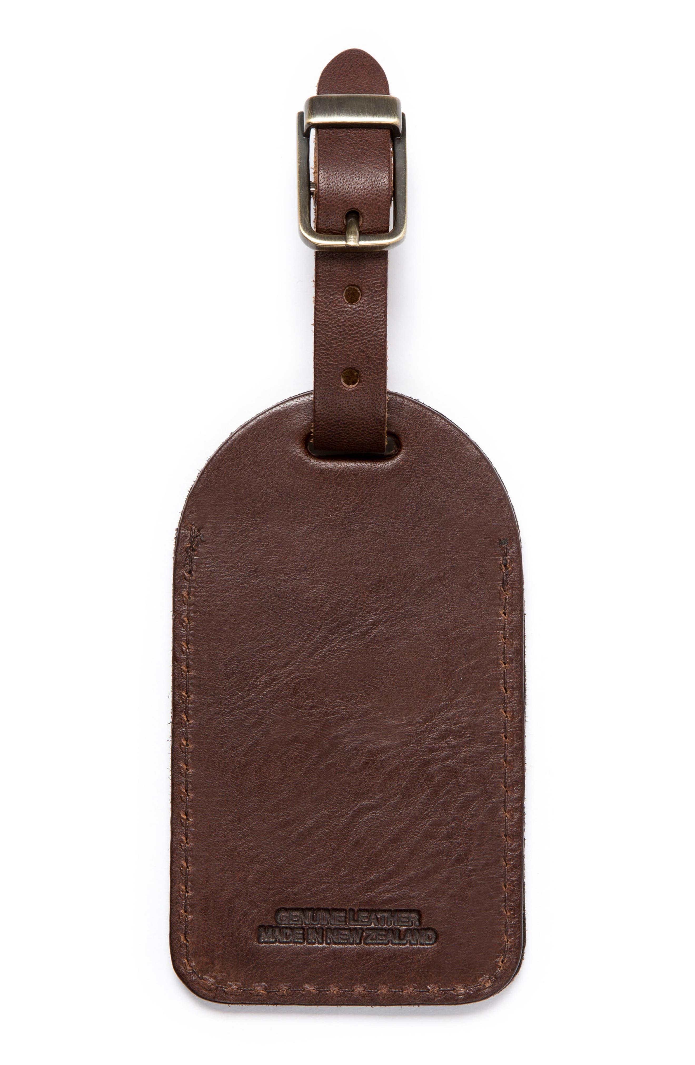 Leather Luggage Tag,                             Alternate thumbnail 2, color,                             Mud