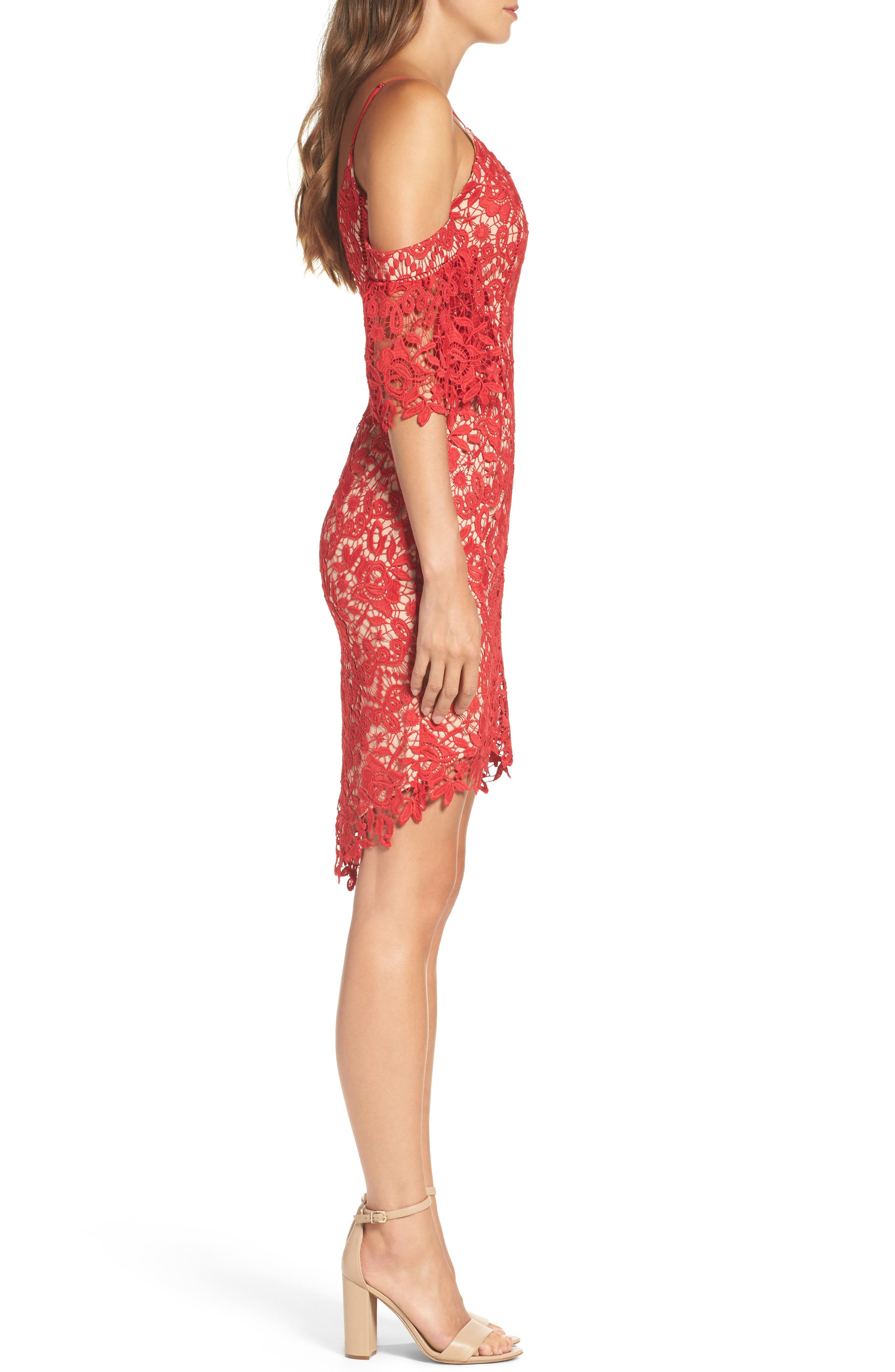 Krista Cold Shoulder Lace Sheath Dress,                             Alternate thumbnail 3, color,                             Red/ Nude