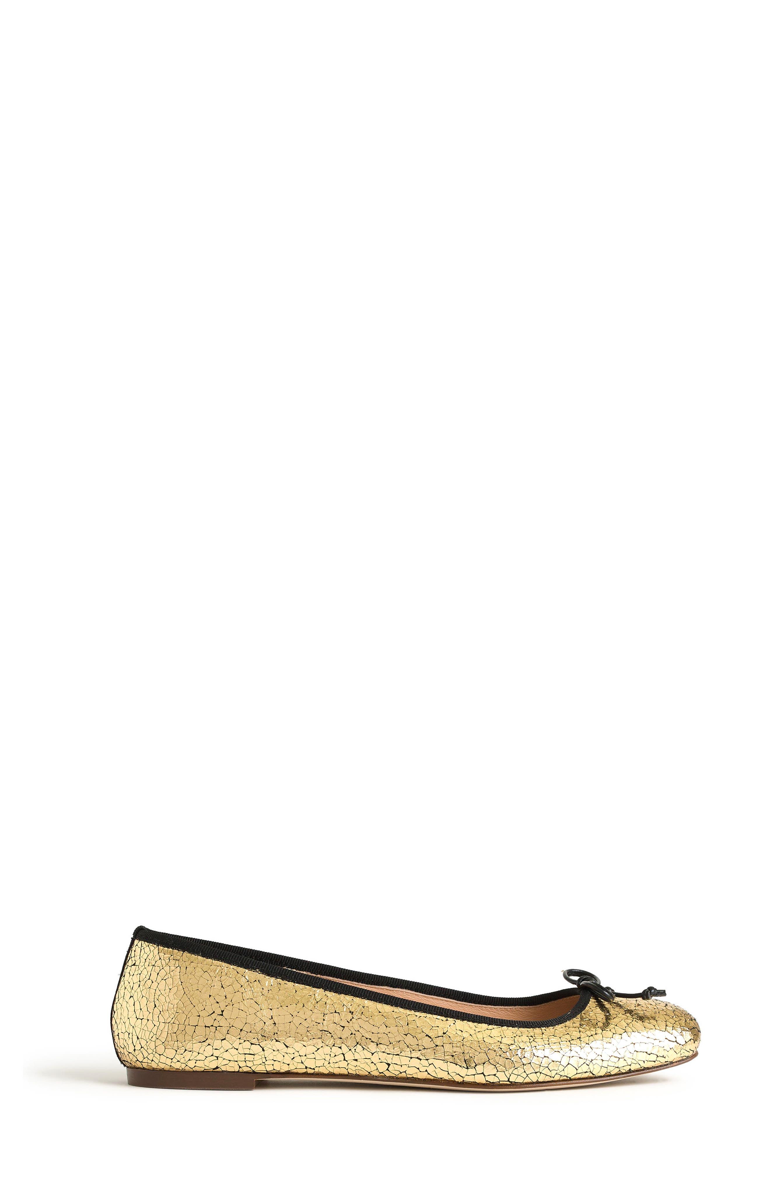 J. Crew Franklin Crackle Flat,                             Alternate thumbnail 2, color,                             Gold/ Black Fabric