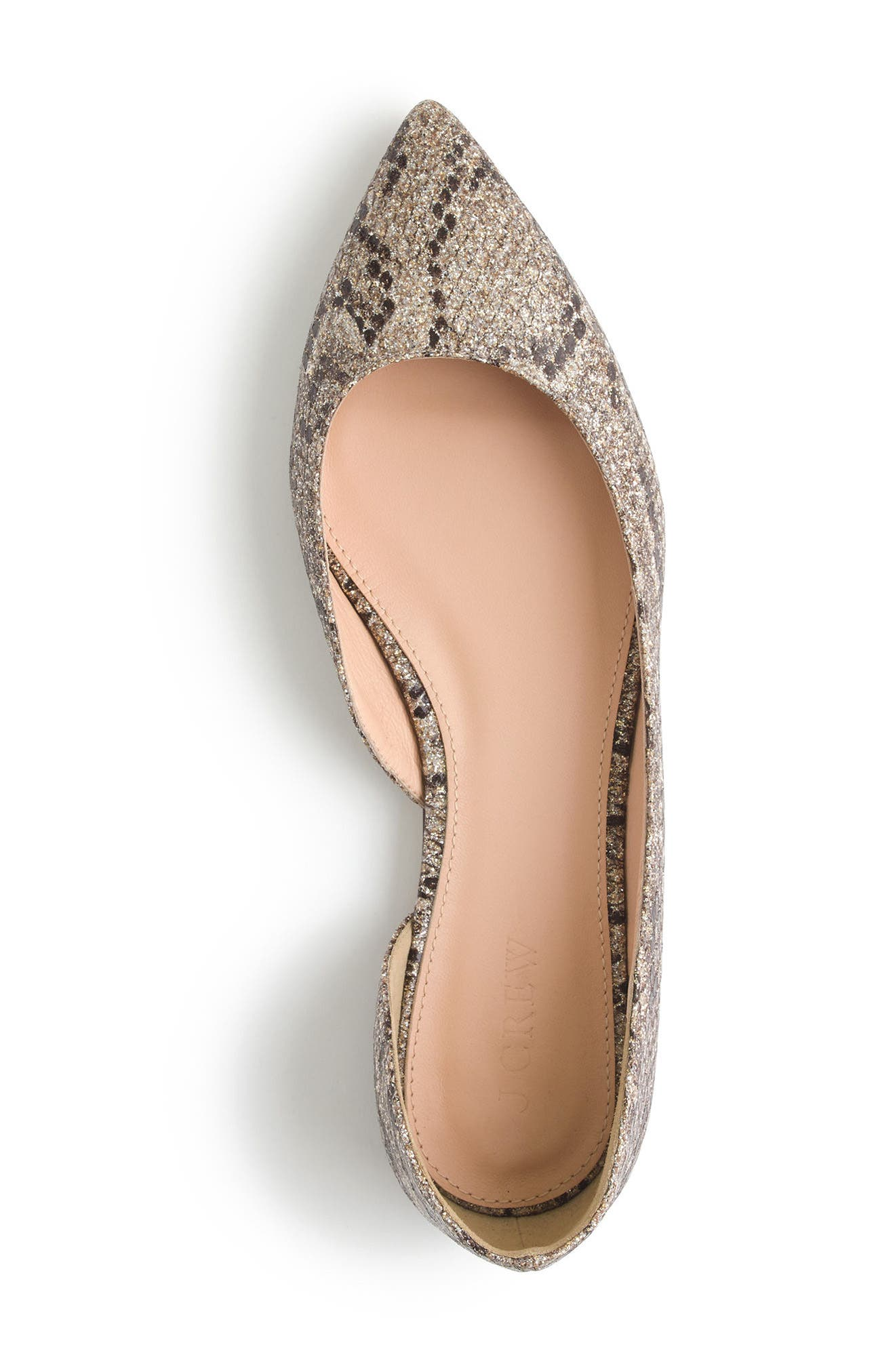 J.Crew Sadie Glitter Flat,                             Alternate thumbnail 3, color,                             Gold Brown Glitter Fabric