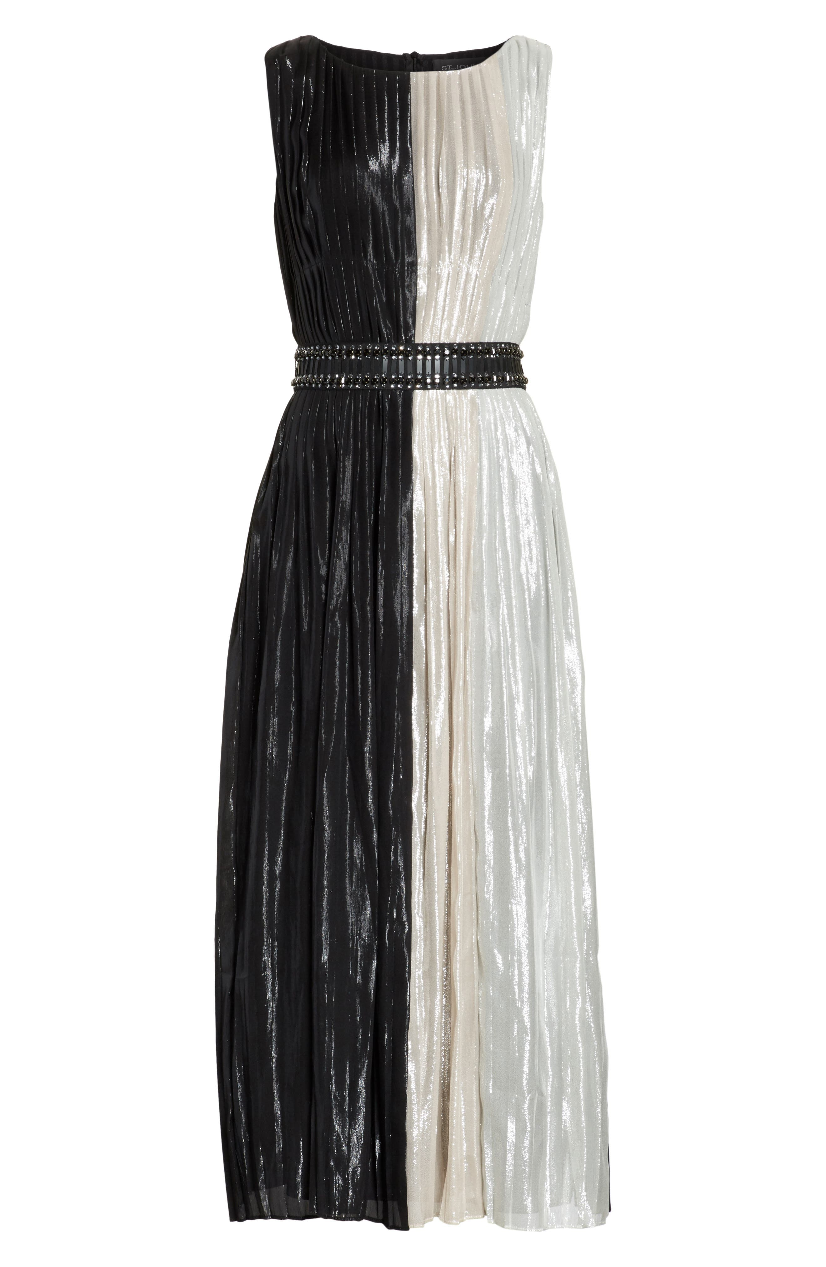Alternate Image 6  - St. John Collection Pleated Chiffon Midi Dress