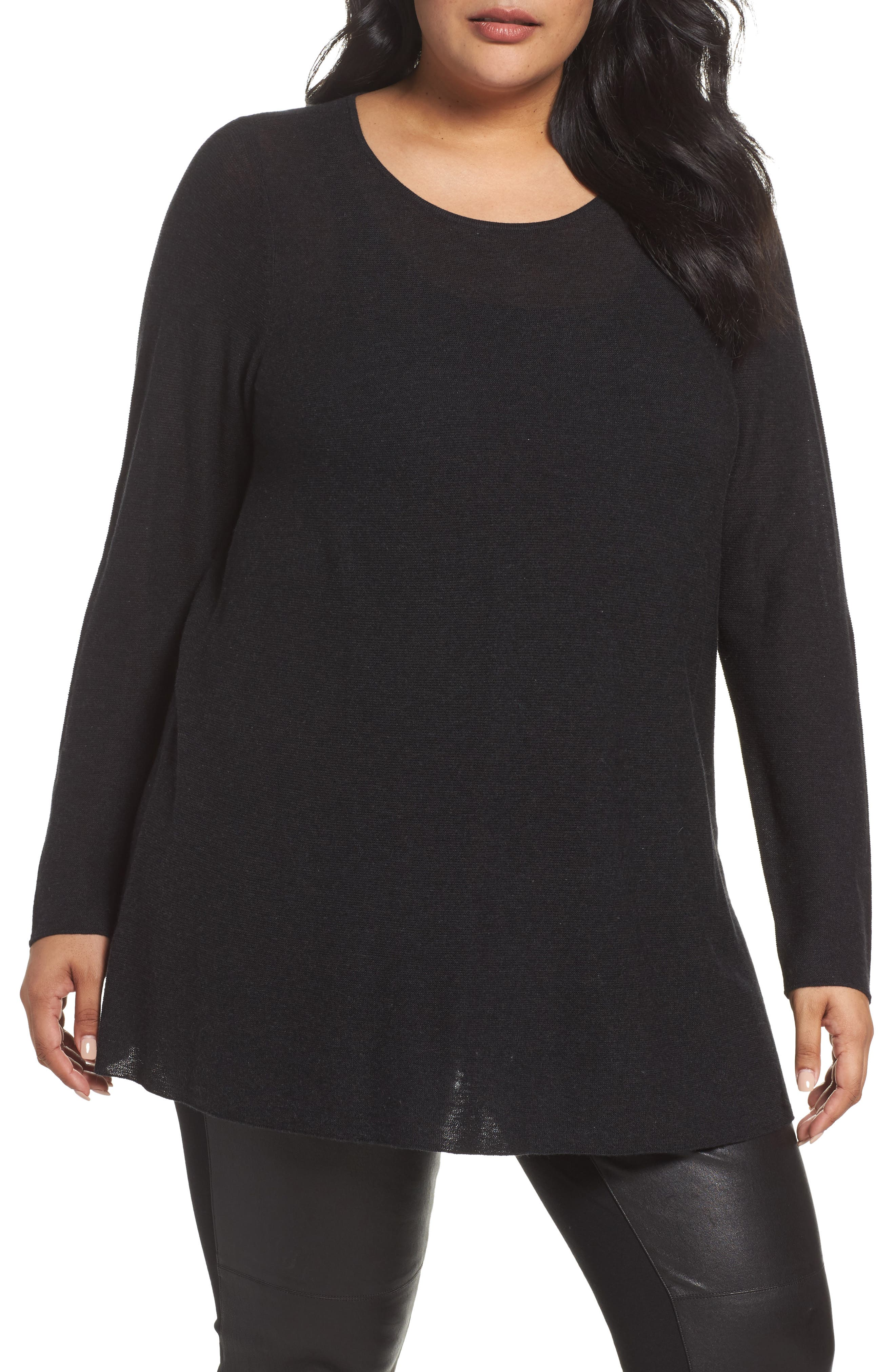 Jewel Neck Tunic Sweater,                         Main,                         color, Charcoal