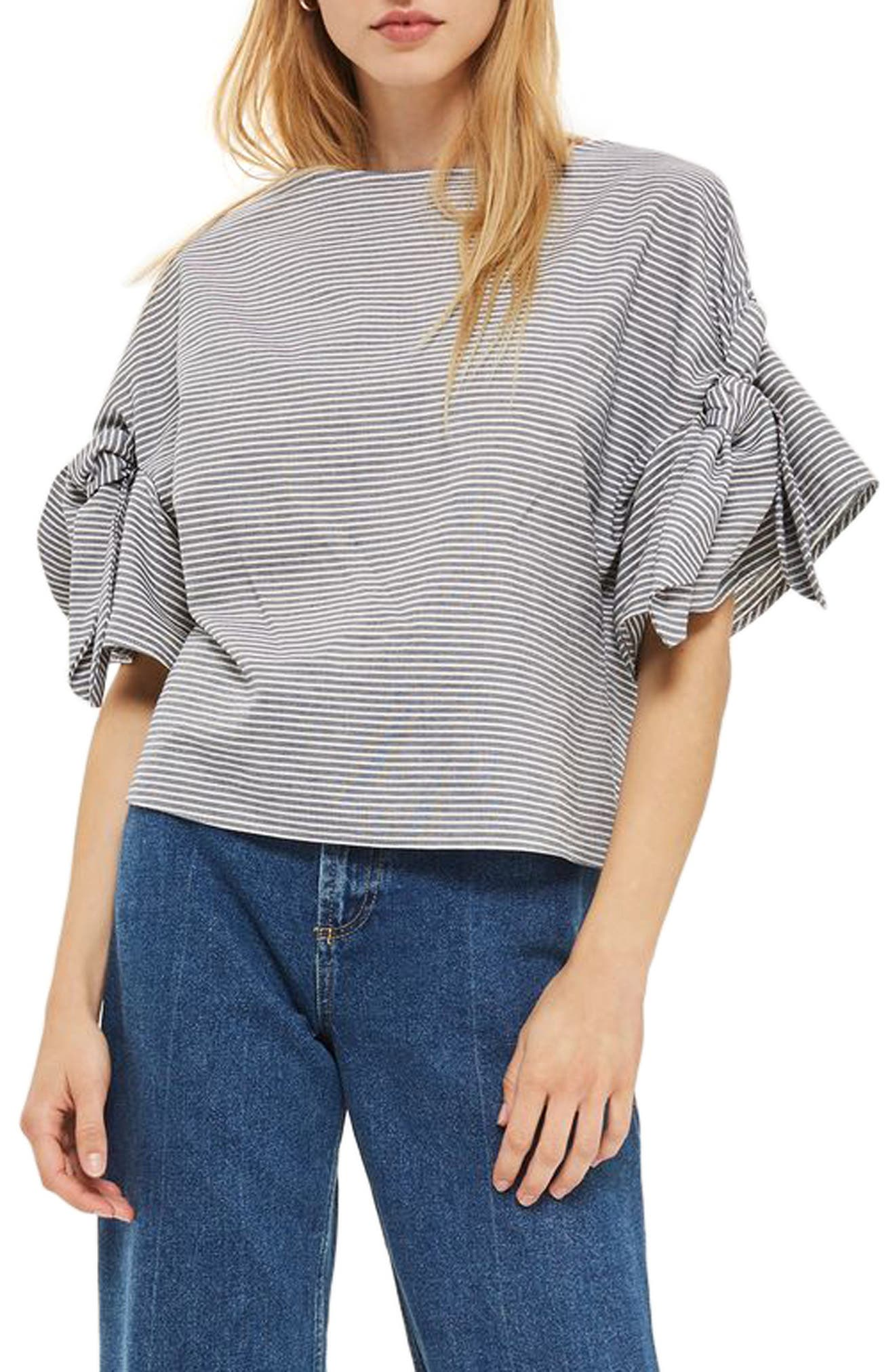TOPSHOP Ticking Stripe Bow Sleeve Tee