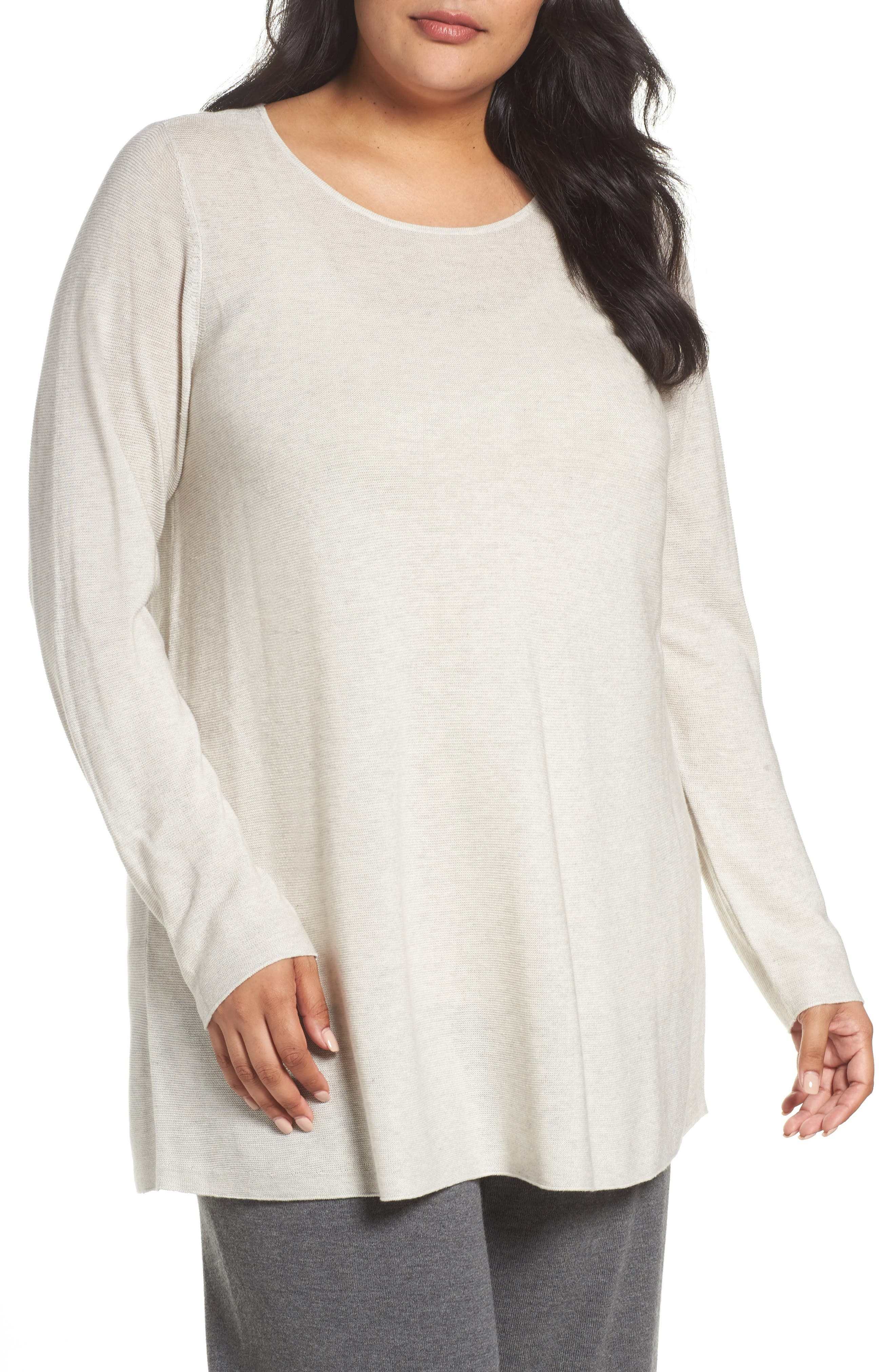 Alternate Image 1 Selected - Eileen Fisher Jewel Neck Tunic Sweater (Plus Size)