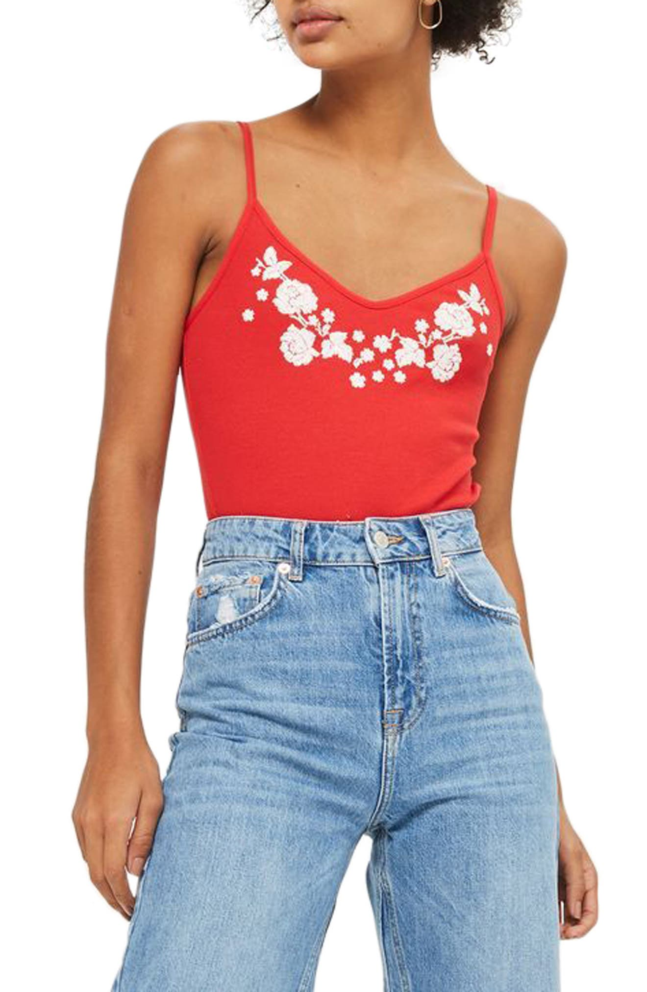 Embroidered Tie Back Bodysuit,                             Main thumbnail 1, color,                             Red Multi
