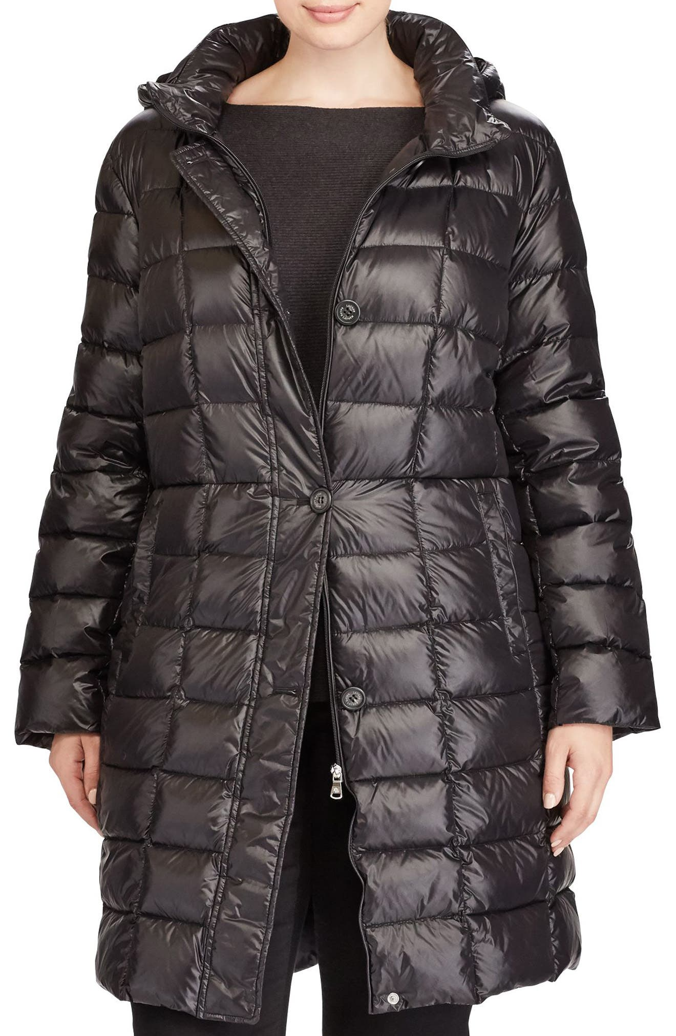 Quilted Down Coat,                         Main,                         color, Black