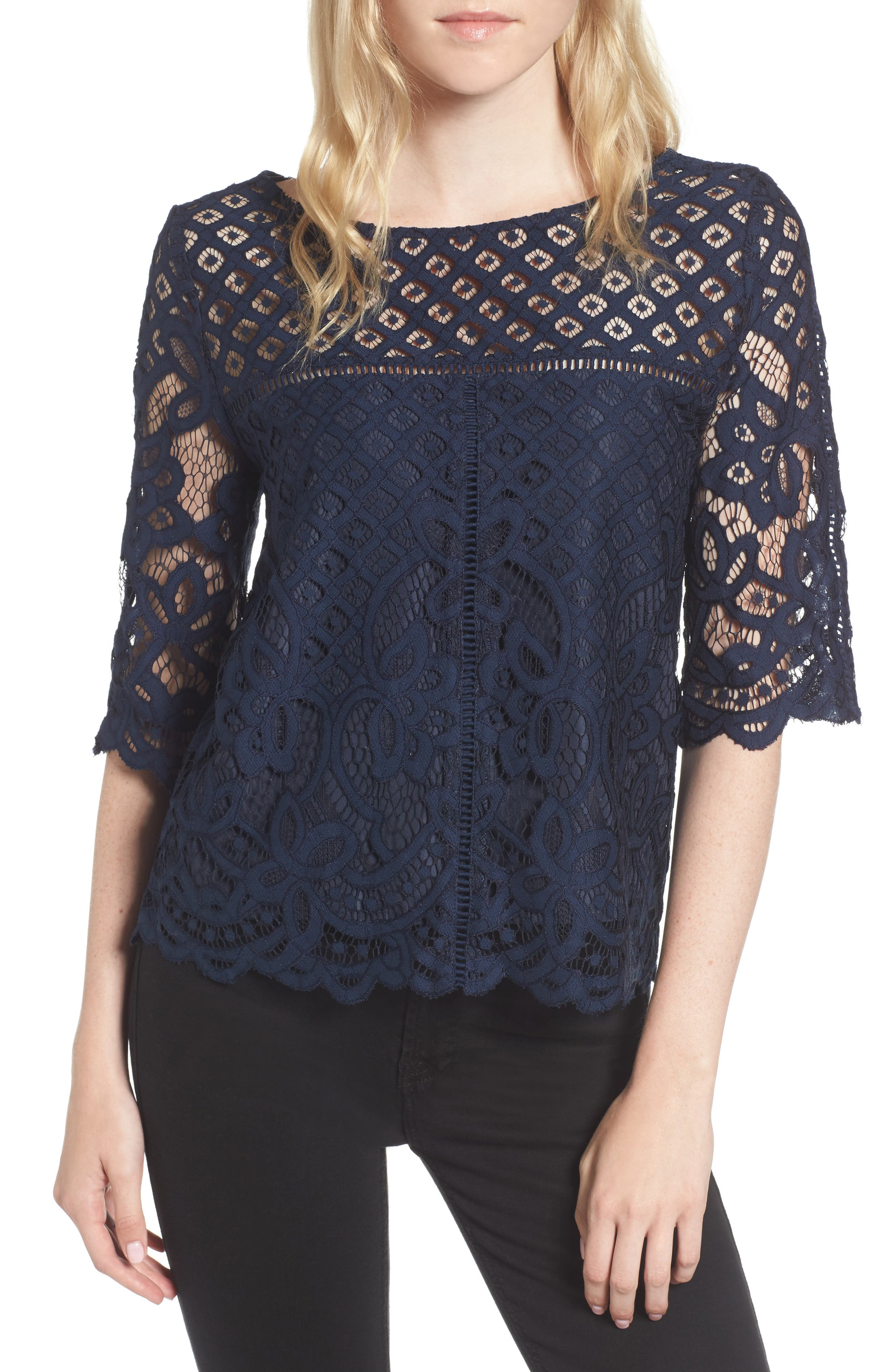 cupcakes and cashmere Andrie Lace Top