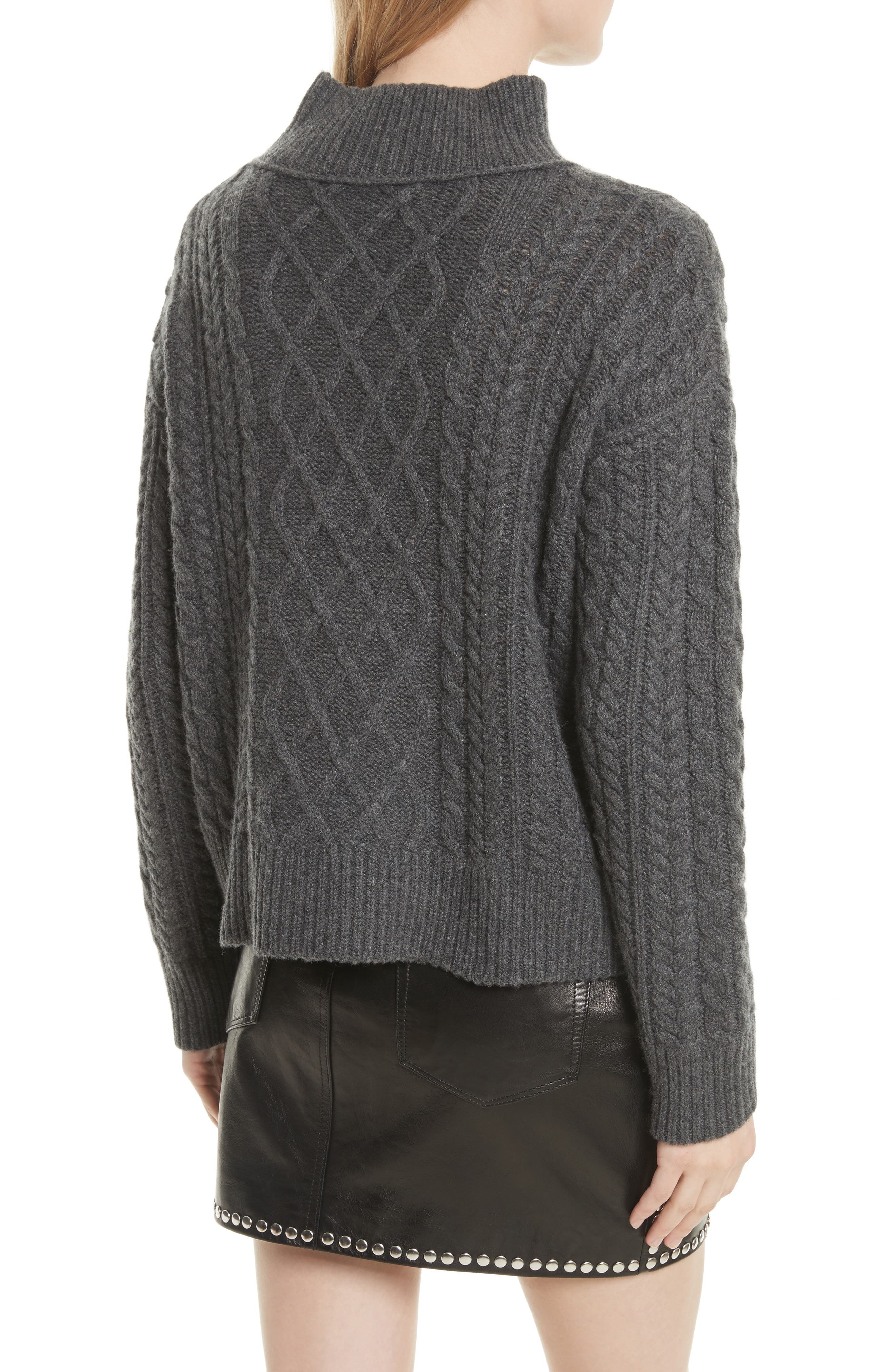 Wool & Cashmere Cable Knit Crop Sweater,                             Alternate thumbnail 3, color,                             Charcoal