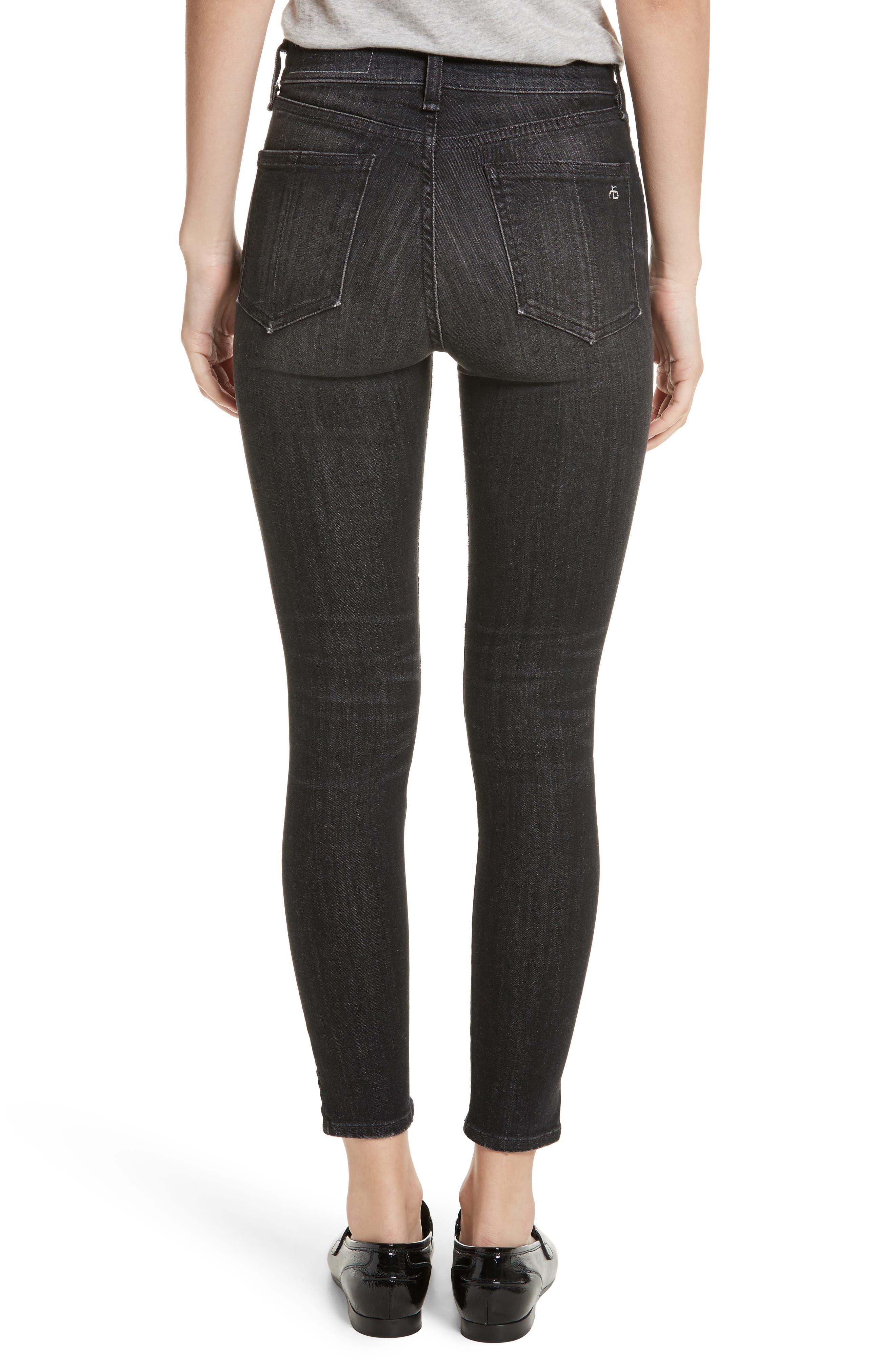 High Waist Ankle Skinny Jeans,                             Alternate thumbnail 2, color,                             Black Lock
