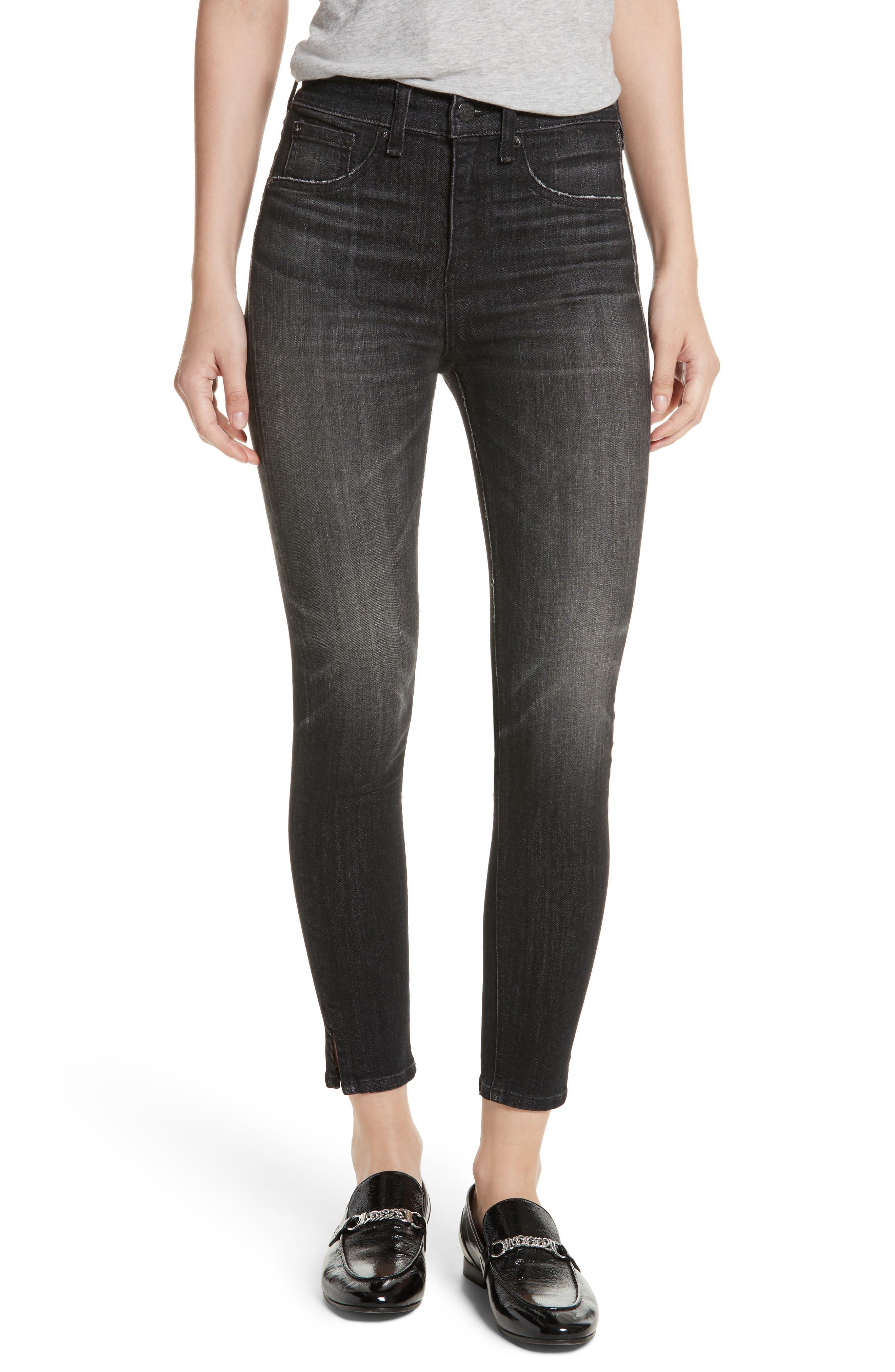 High Waist Ankle Skinny Jeans,                         Main,                         color, Black Lock