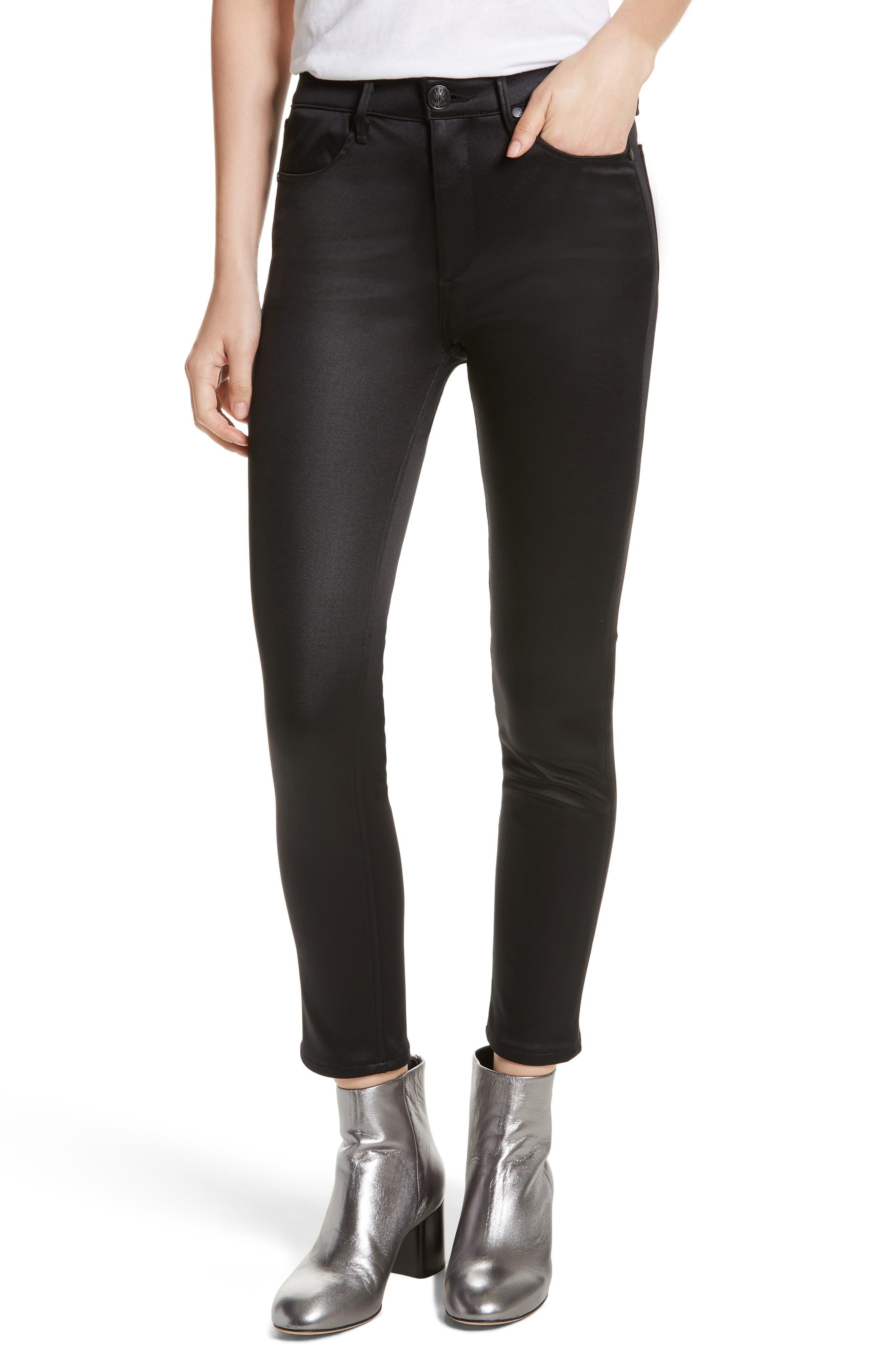 High Waist Ankle Skinny Jeans,                         Main,                         color, Black Sateen