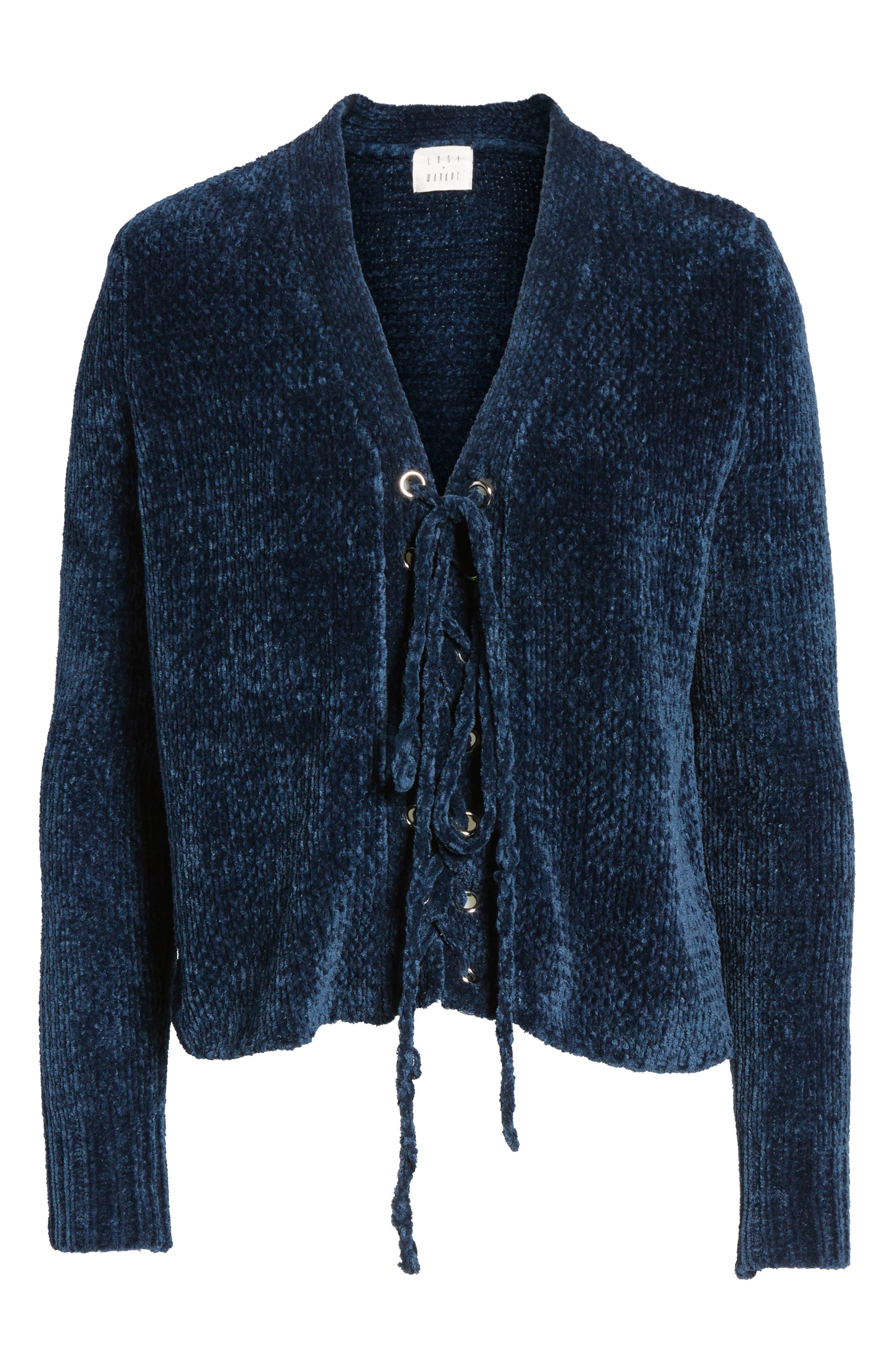 Alternate Image 2  - Lost + Wander Maya Chenille Lace-Up Sweater