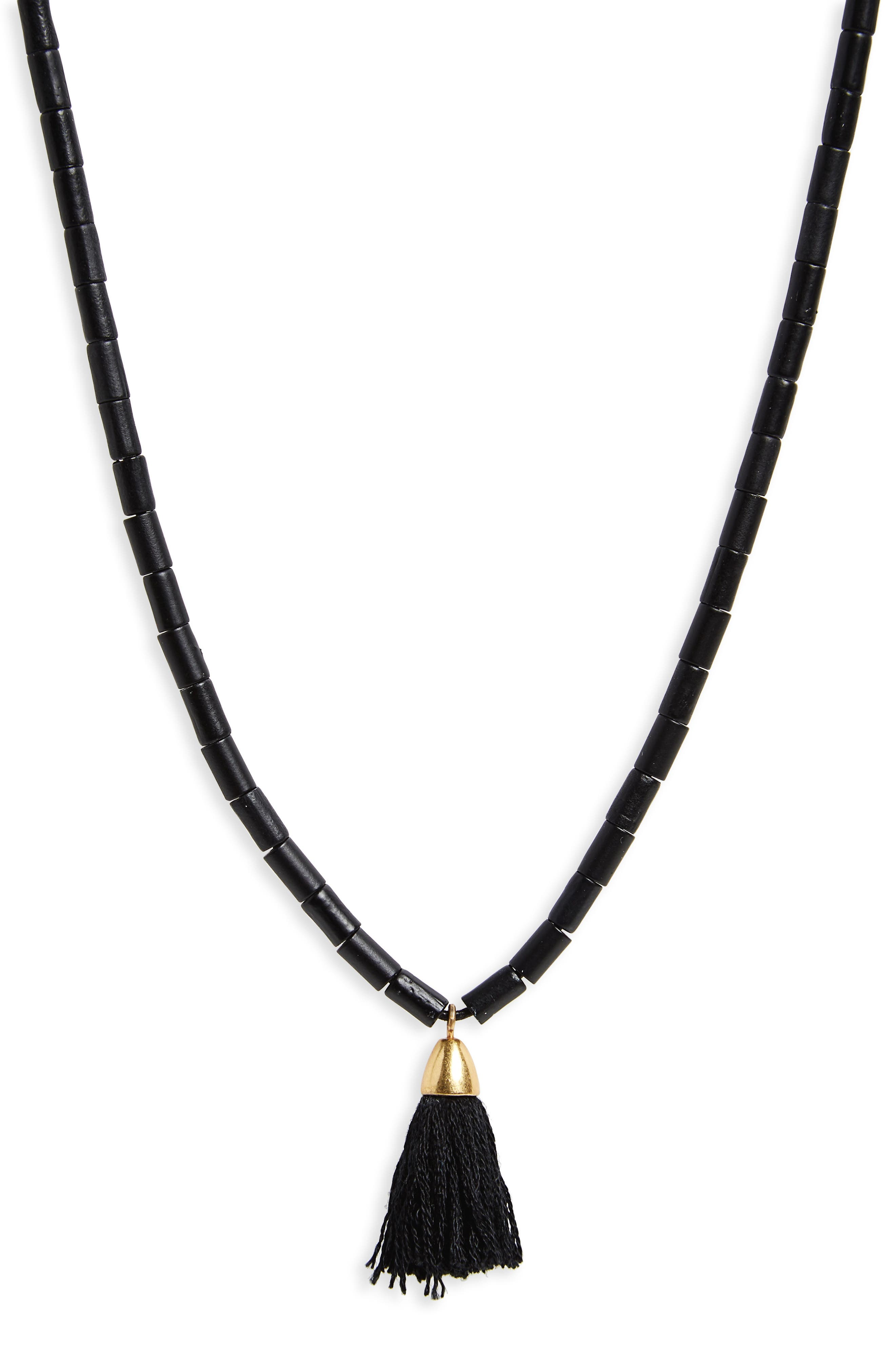Adjustable Bead Tassel Necklace,                         Main,                         color, True Black