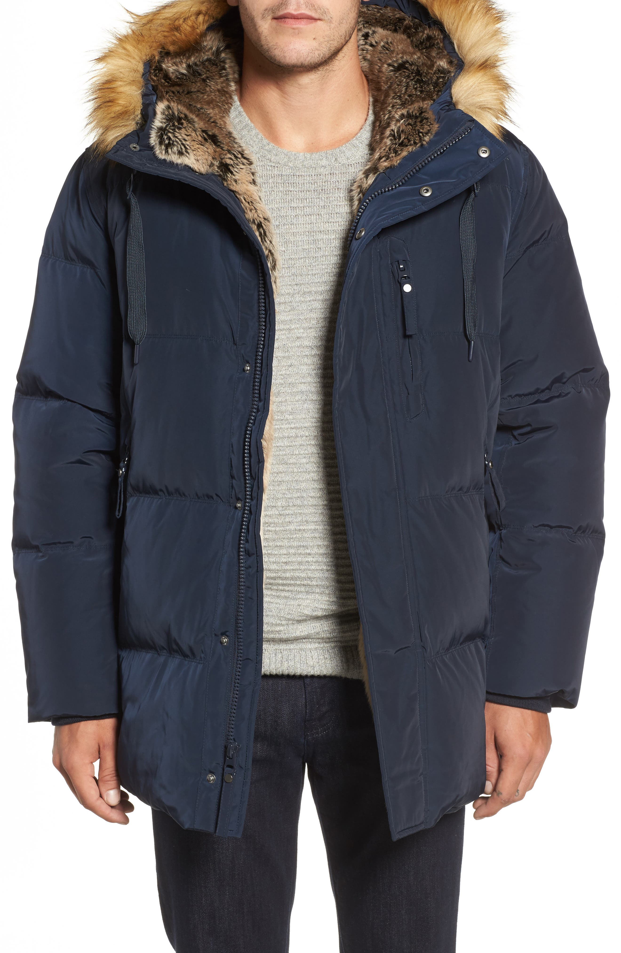 Marc New York Quilted Down Parka with Faux Fur Trim