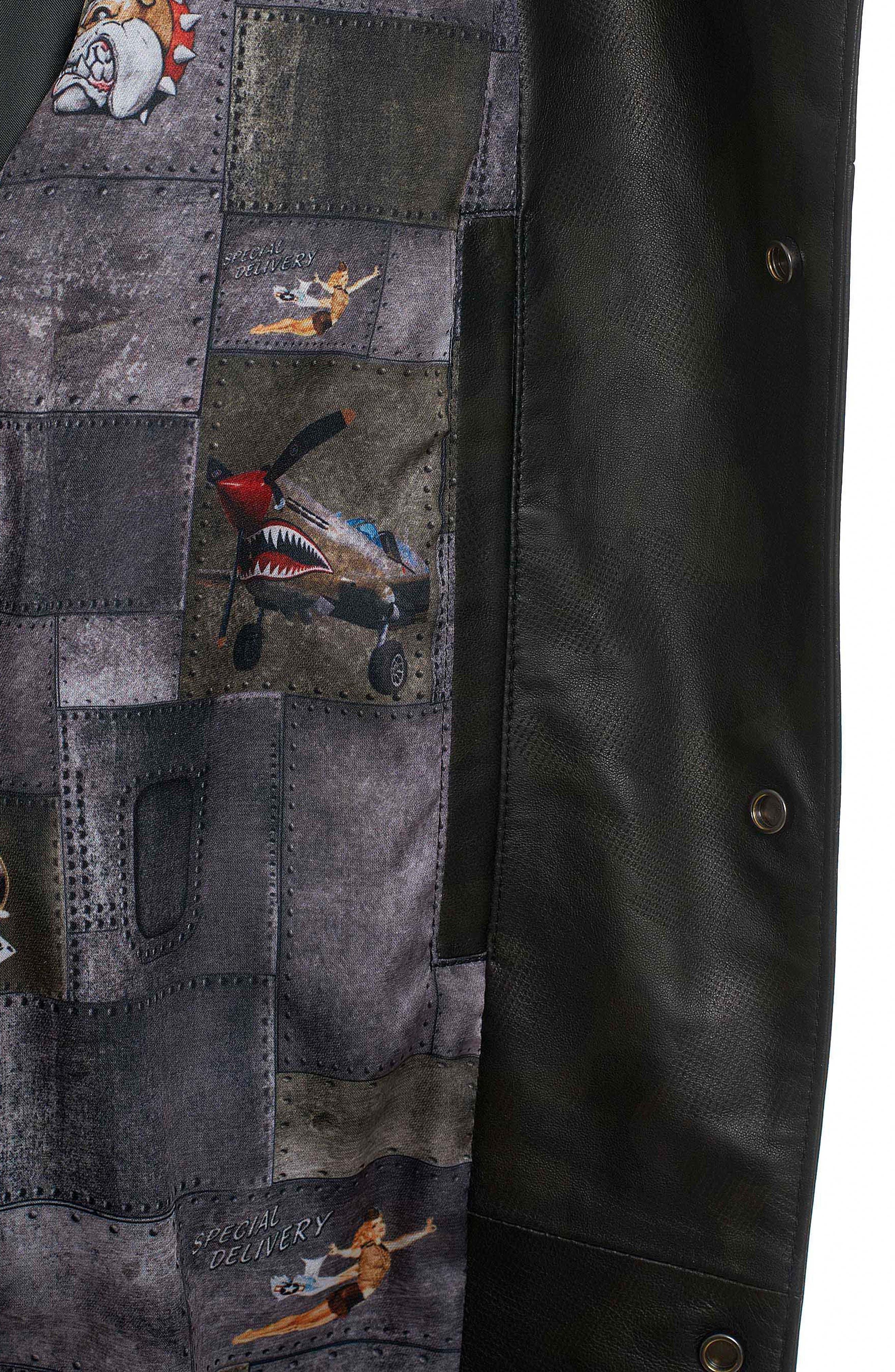 Colden Camo Leather Shirt Jacket,                             Alternate thumbnail 3, color,                             Black