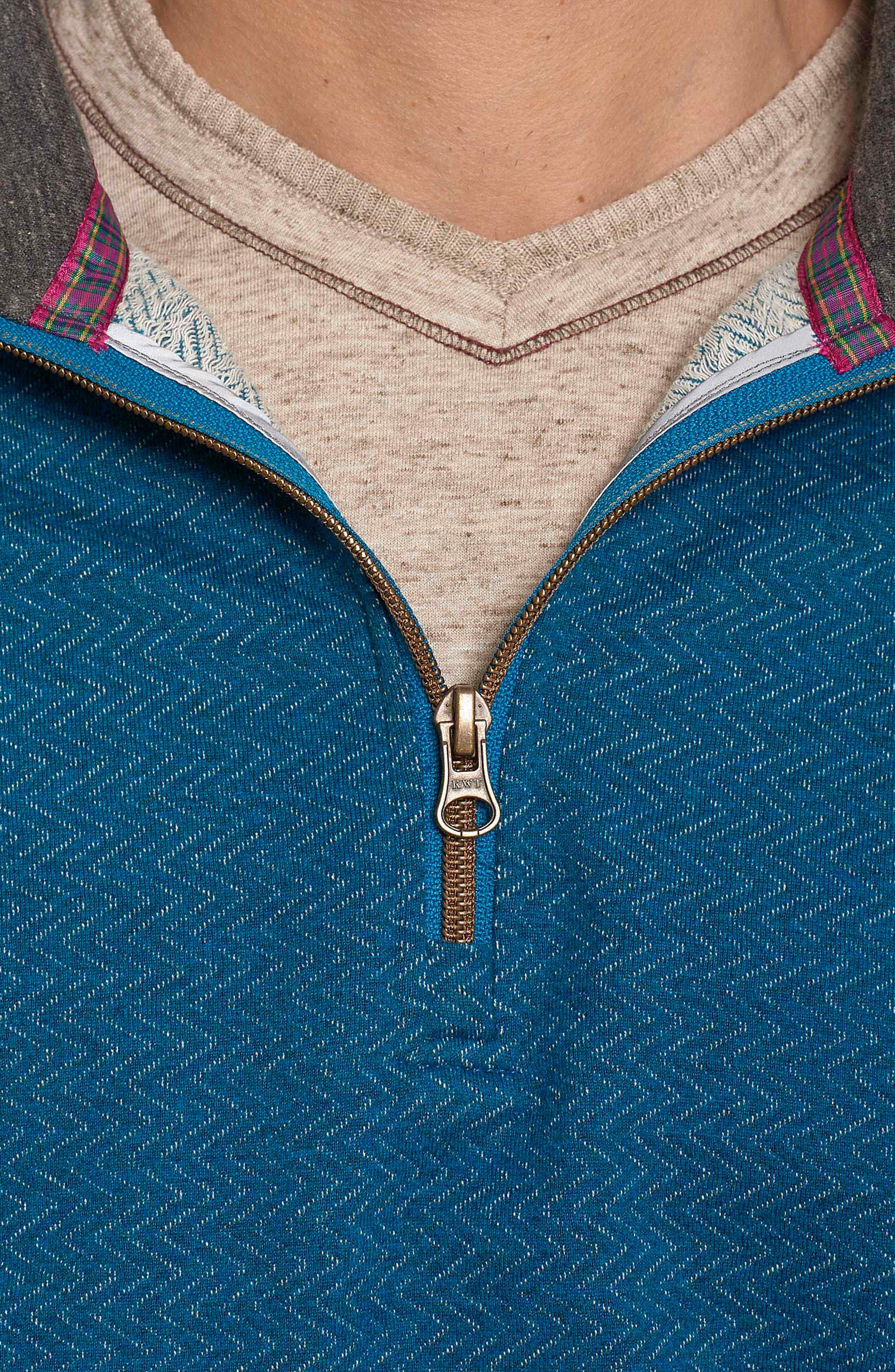 Warrensburg Herringbone Quarter Zip Pullover,                             Alternate thumbnail 3, color,                             Heather Teal