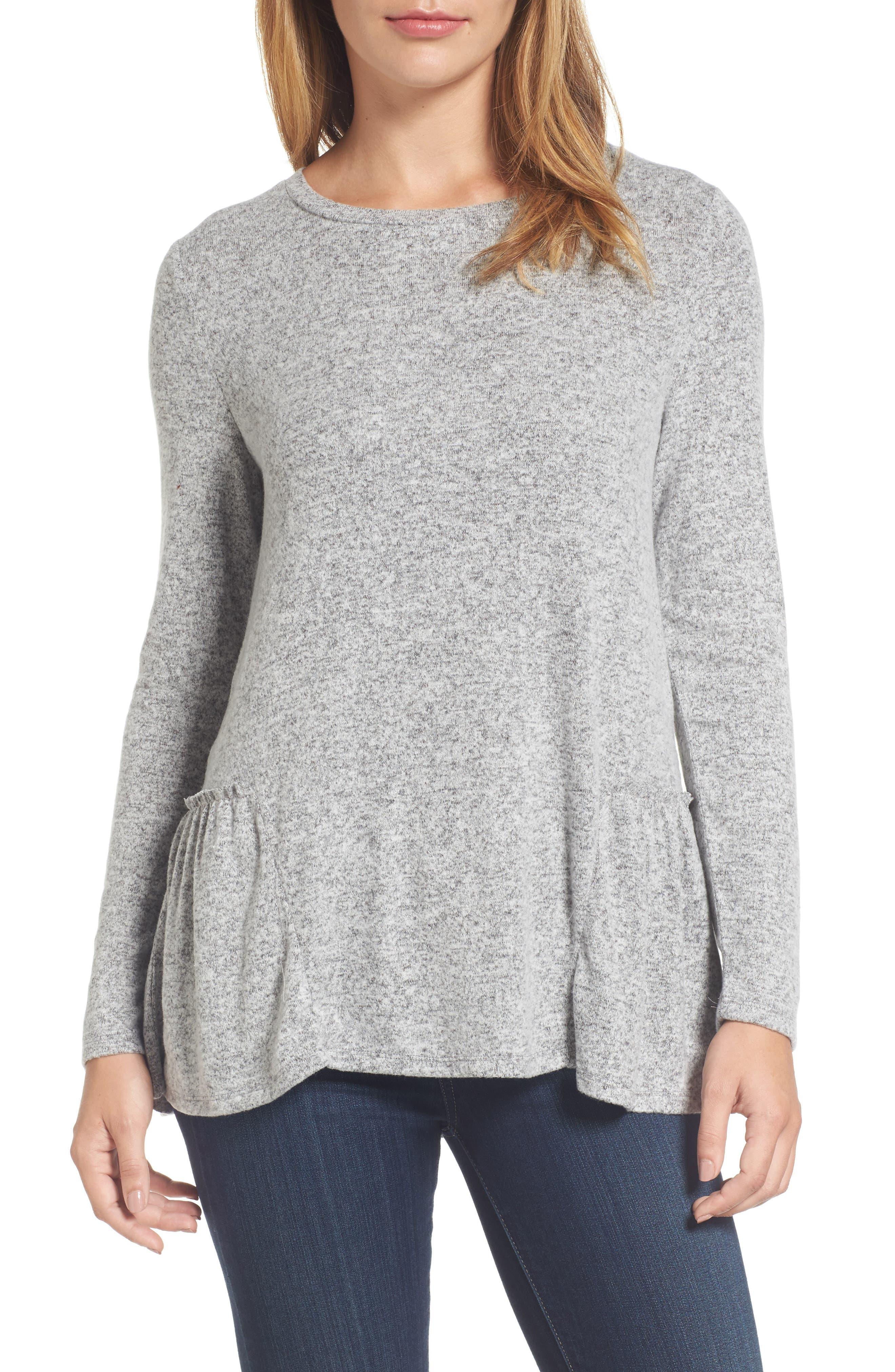 Cozy Back Peplum Top,                         Main,                         color, Grey Heather