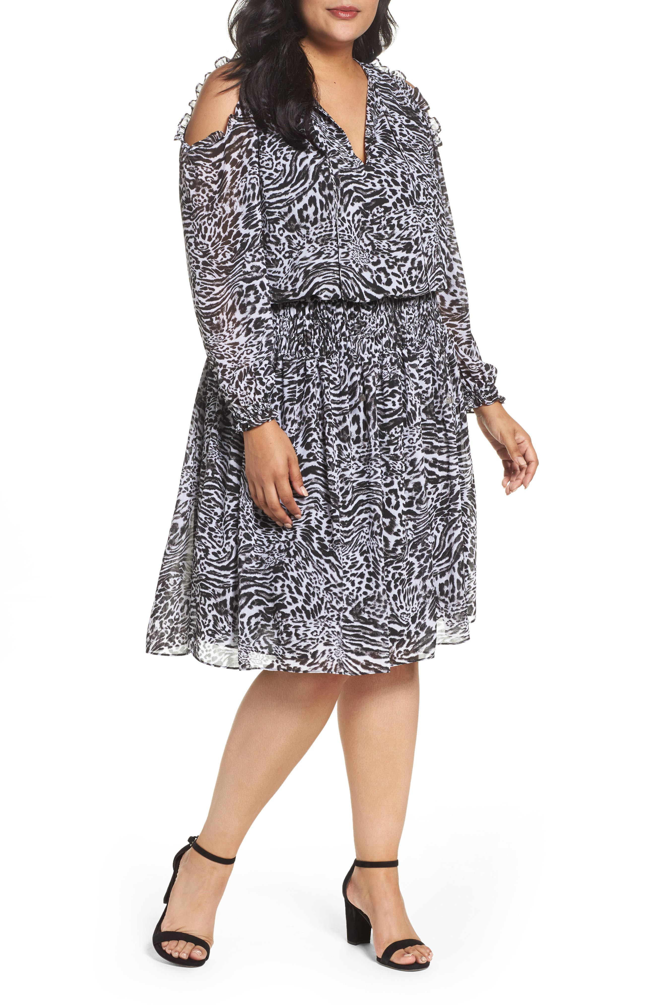 Big Cat Print Cold Shoulder Dress,                             Main thumbnail 1, color,                             Black