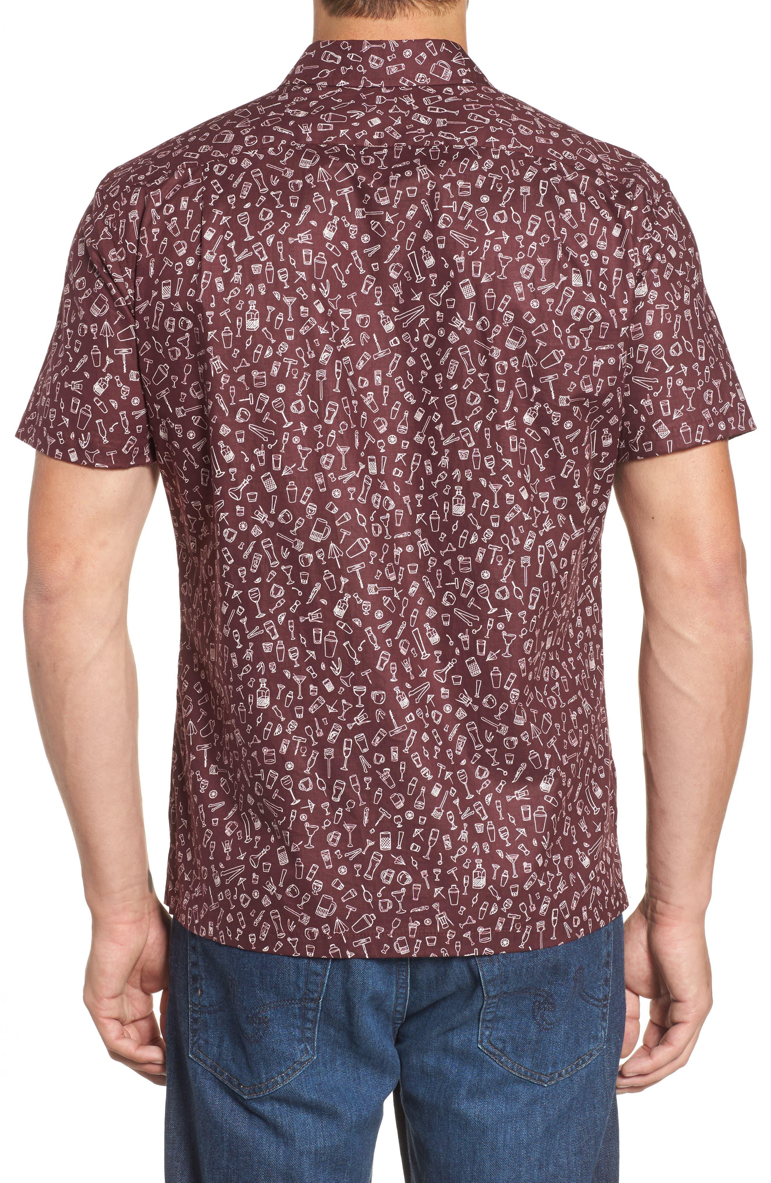 5 PM Slim Fit Camp Shirt,                             Alternate thumbnail 2, color,                             Wine