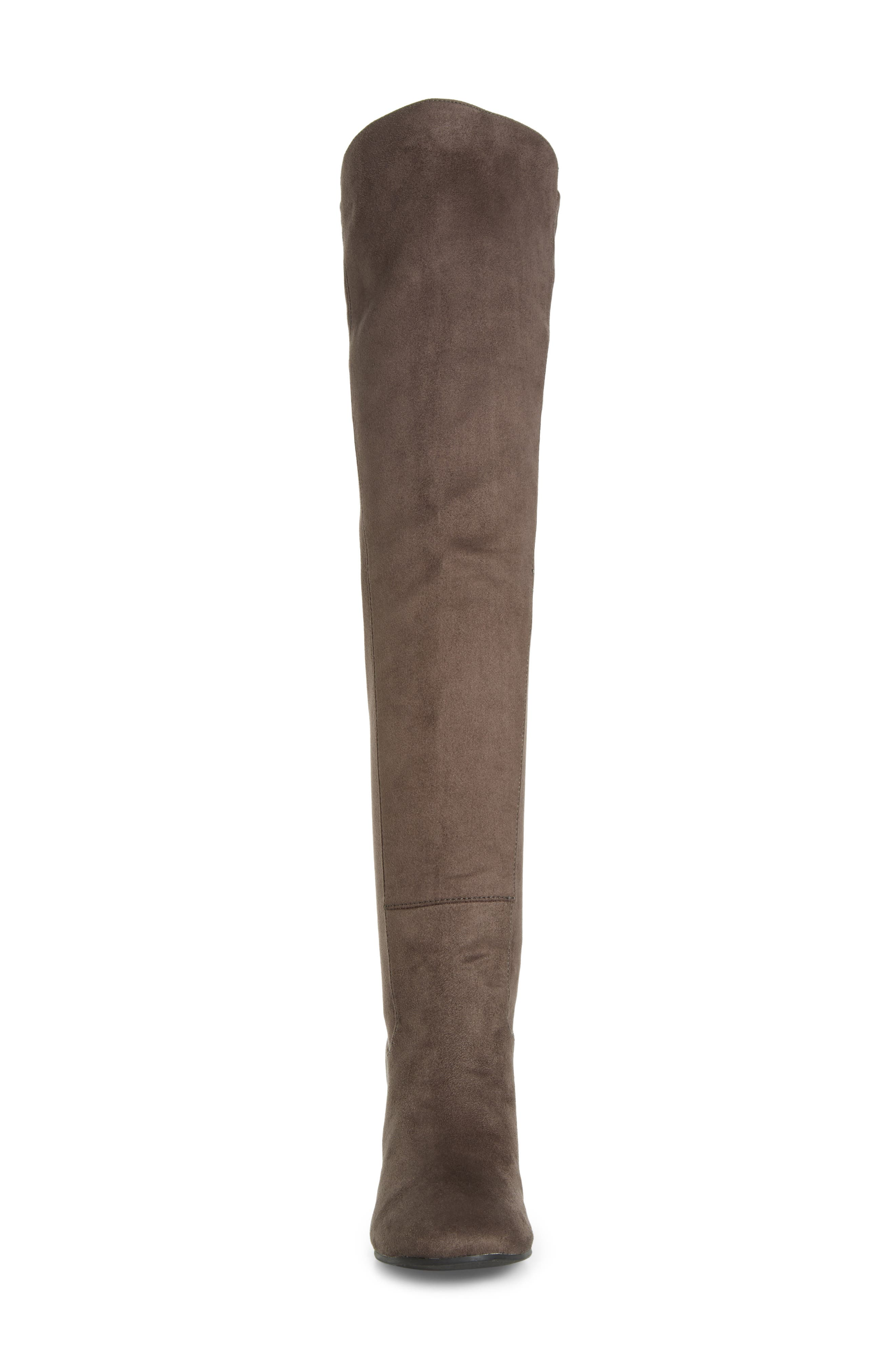 Lynx Stretch Over the Knee Boot,                             Alternate thumbnail 3, color,                             Charcoal Faux Suede