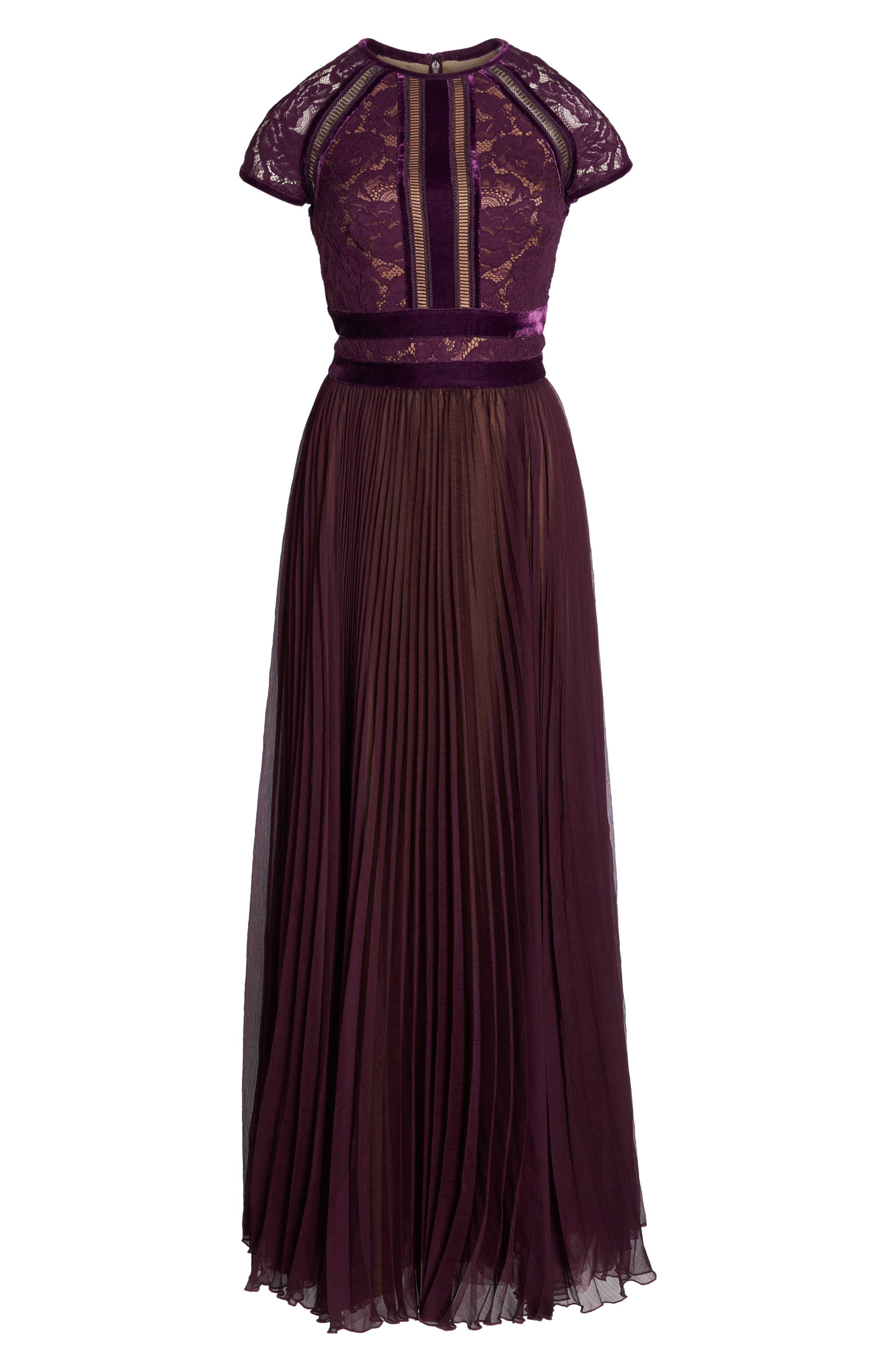 Alternate Image 6  - Tadashi Shoji Pleated Lace & Chiffon Gown