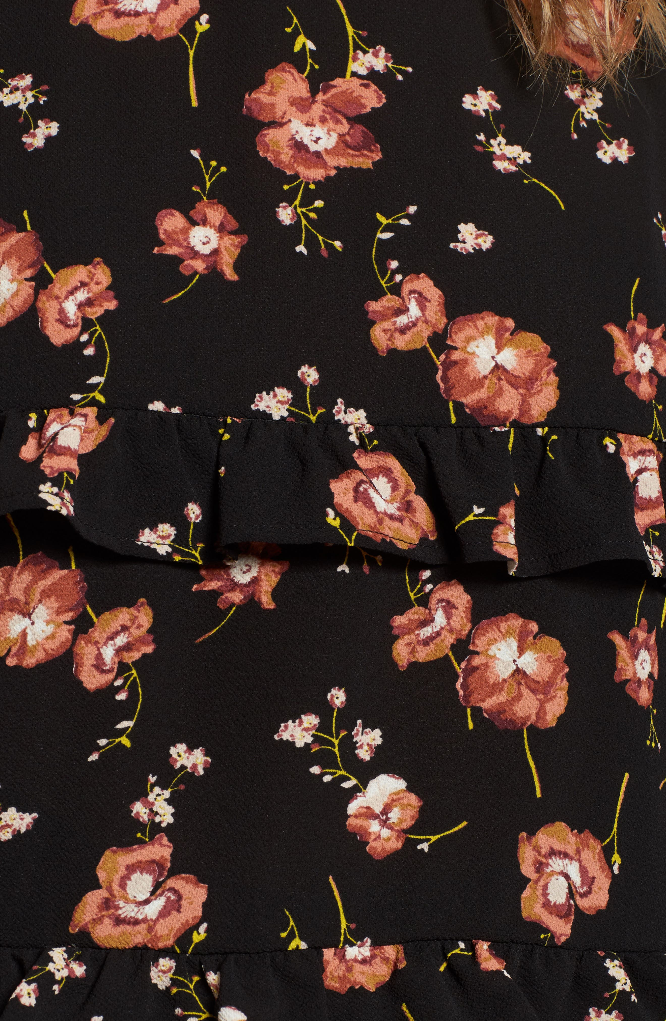 Print Ruffle Blouse,                             Alternate thumbnail 5, color,                             Black Meadow Floral