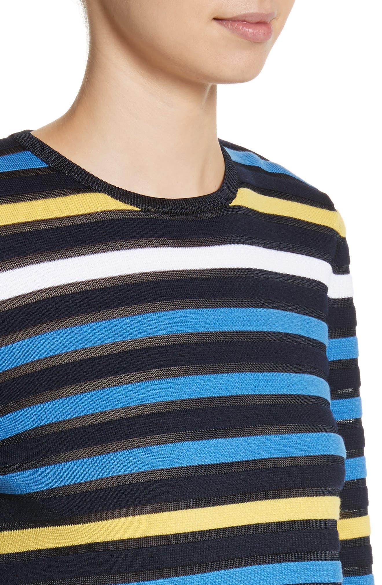 Ombré Stripe Sweater,                             Alternate thumbnail 4, color,                             Navy Multi