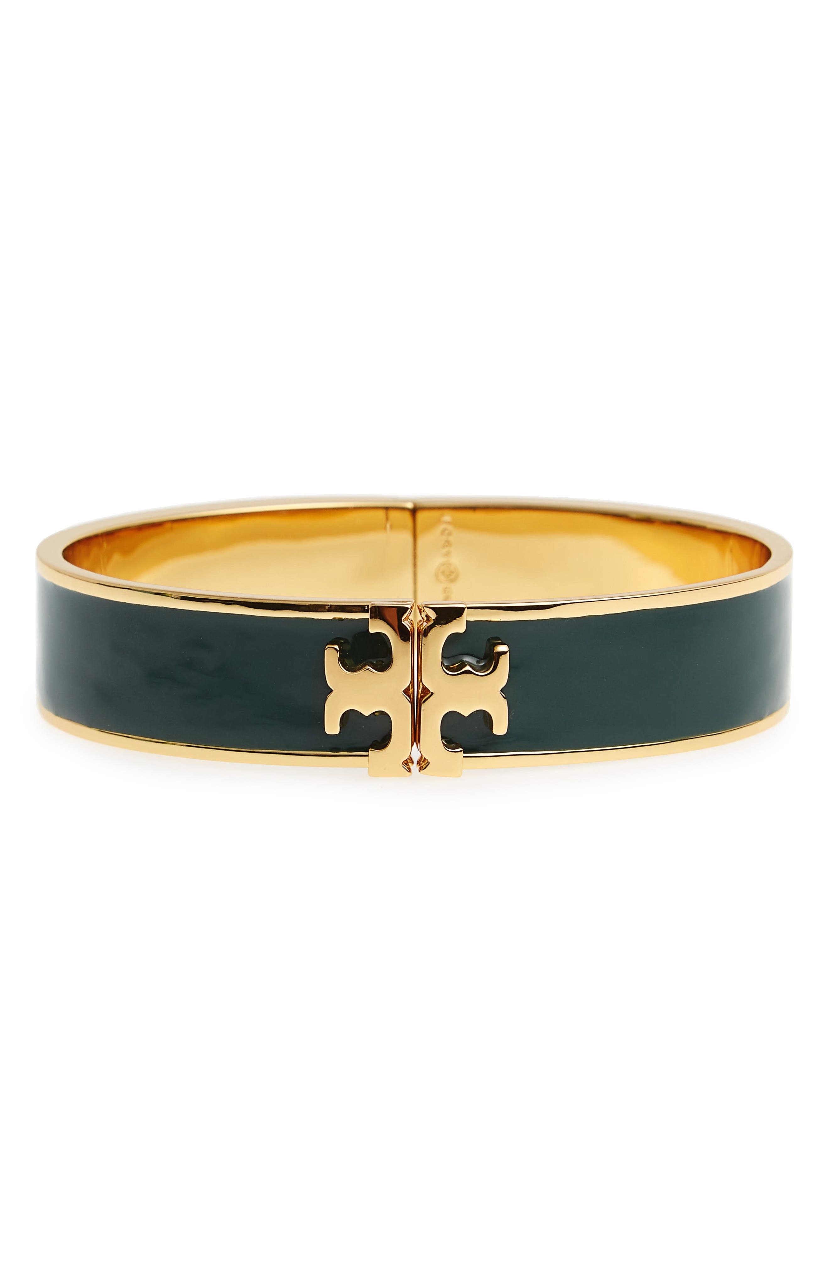 Alternate Image 1 Selected - Tory Burch Raised Logo Enamel Hinge Bracelet