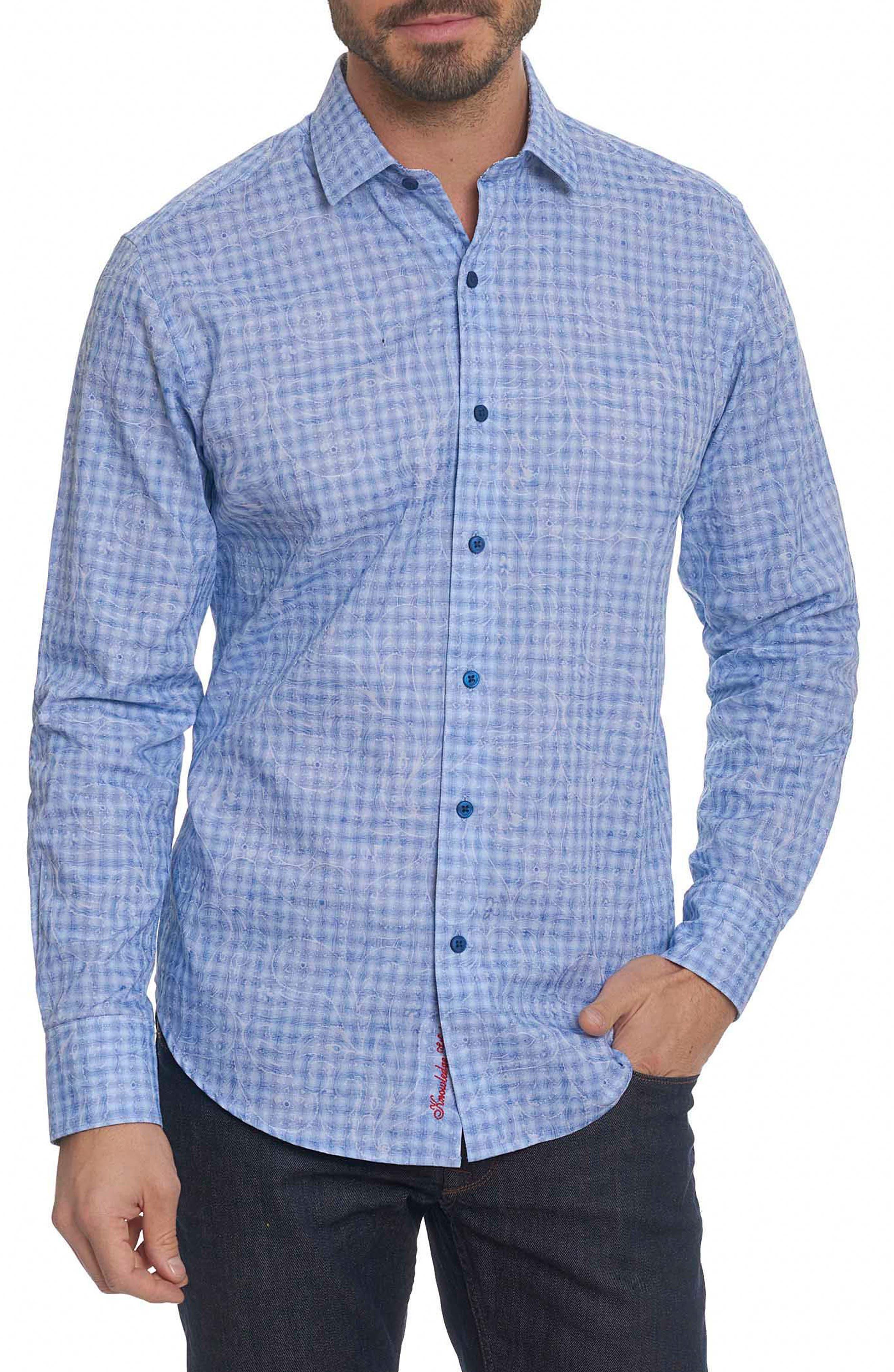 Classic Fit Print Sport Shirt,                         Main,                         color, Blue
