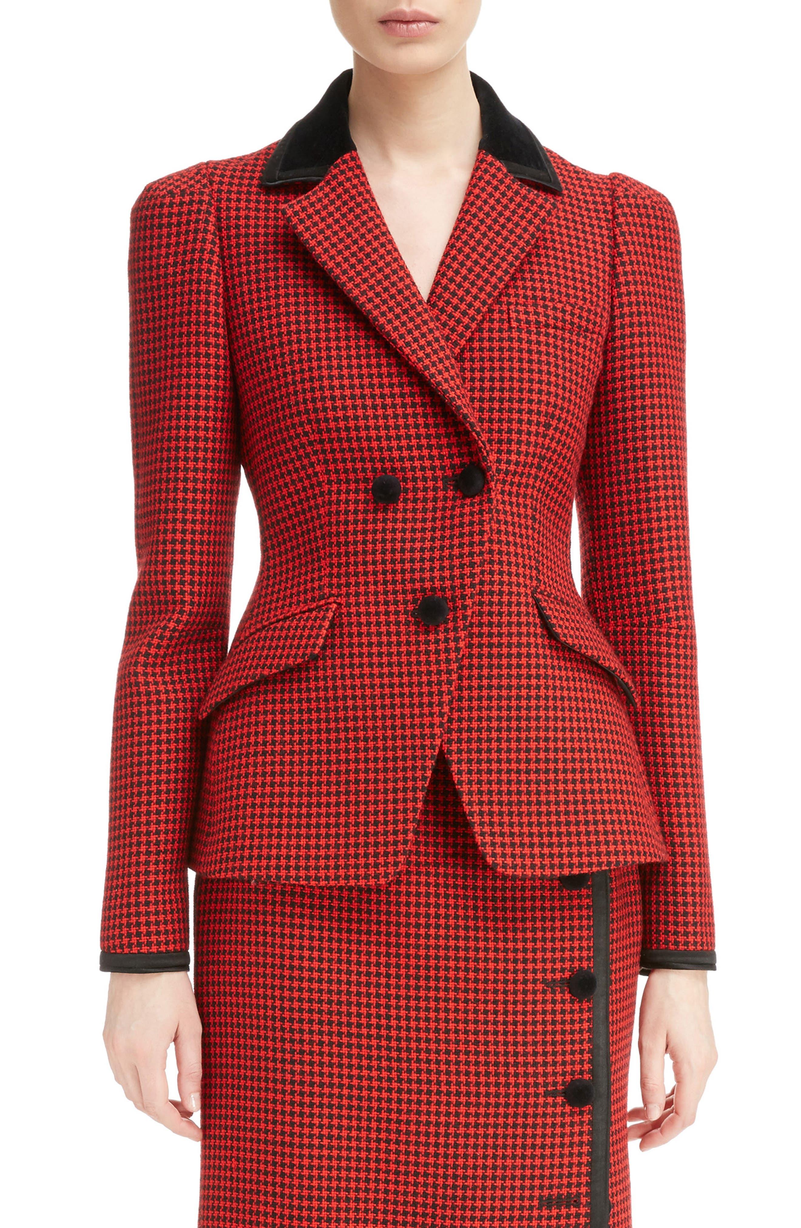 Paladini Houndstooth Wool Jacket,                             Main thumbnail 1, color,                             Scarlet/ Black