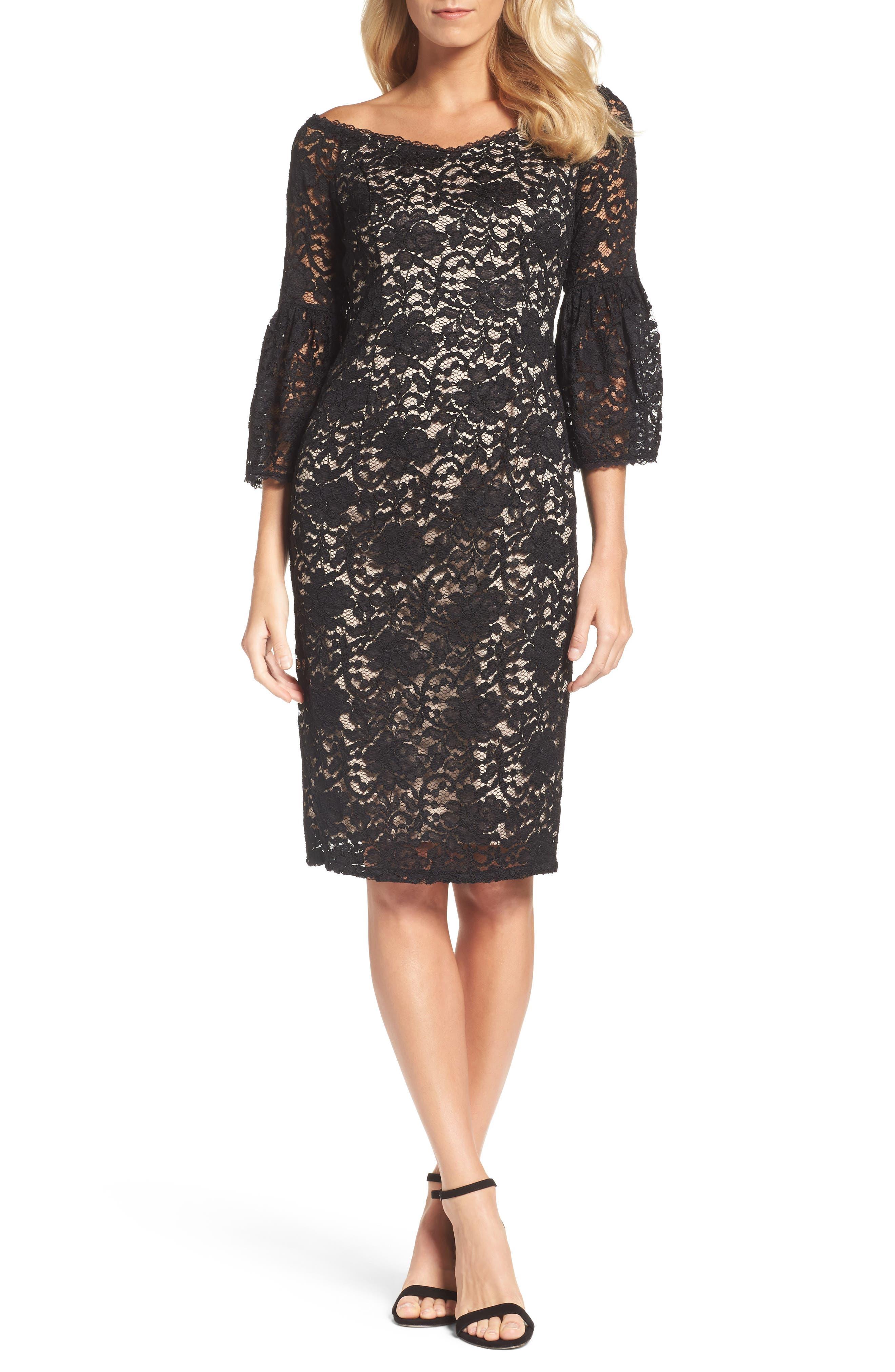 Juliet Lace Off the Shoulder Dress,                         Main,                         color, Black/ Bisque
