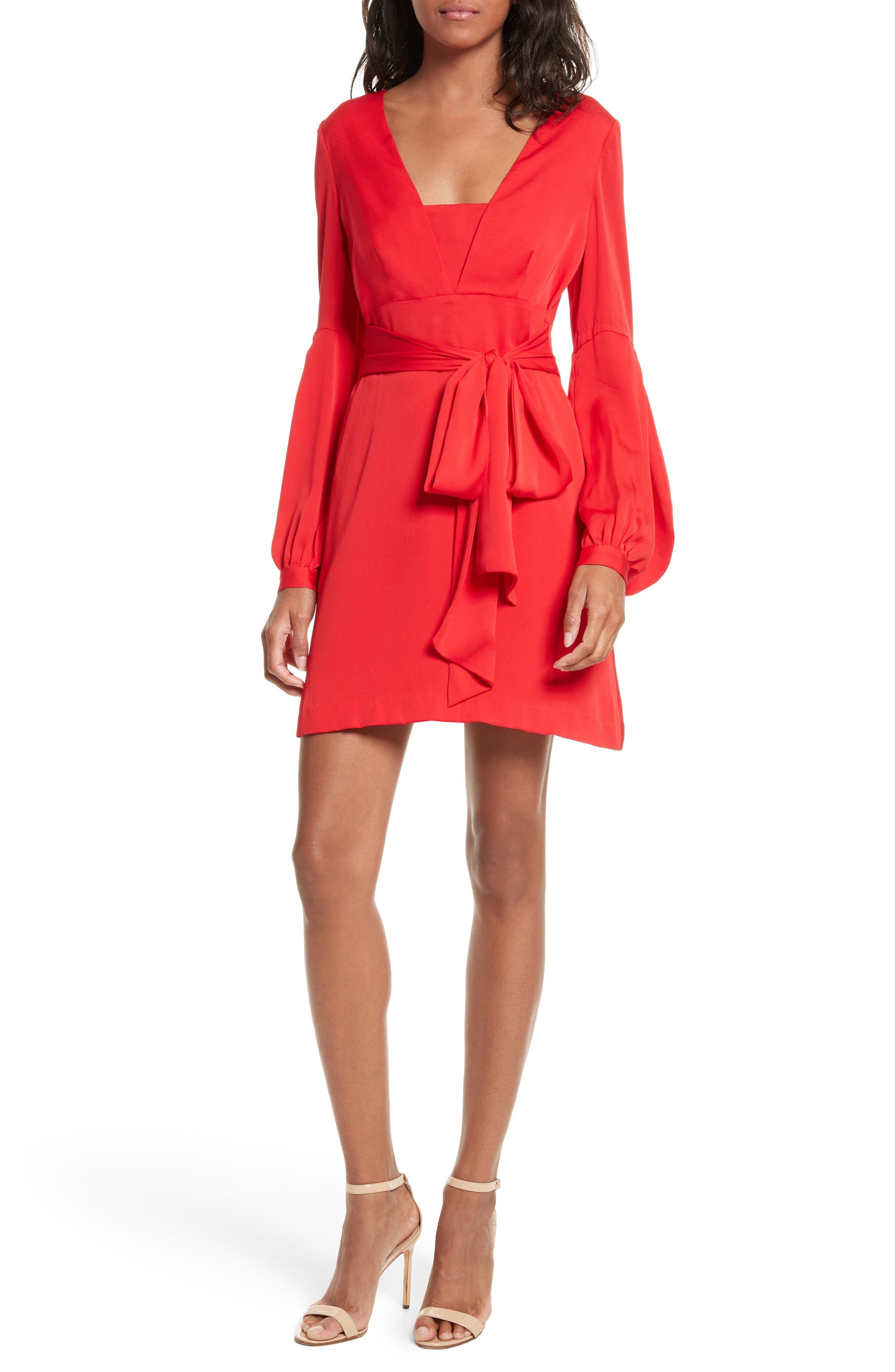 Kayla Deep V-Neck Stretch Silk Dress,                             Main thumbnail 1, color,                             Lipstick