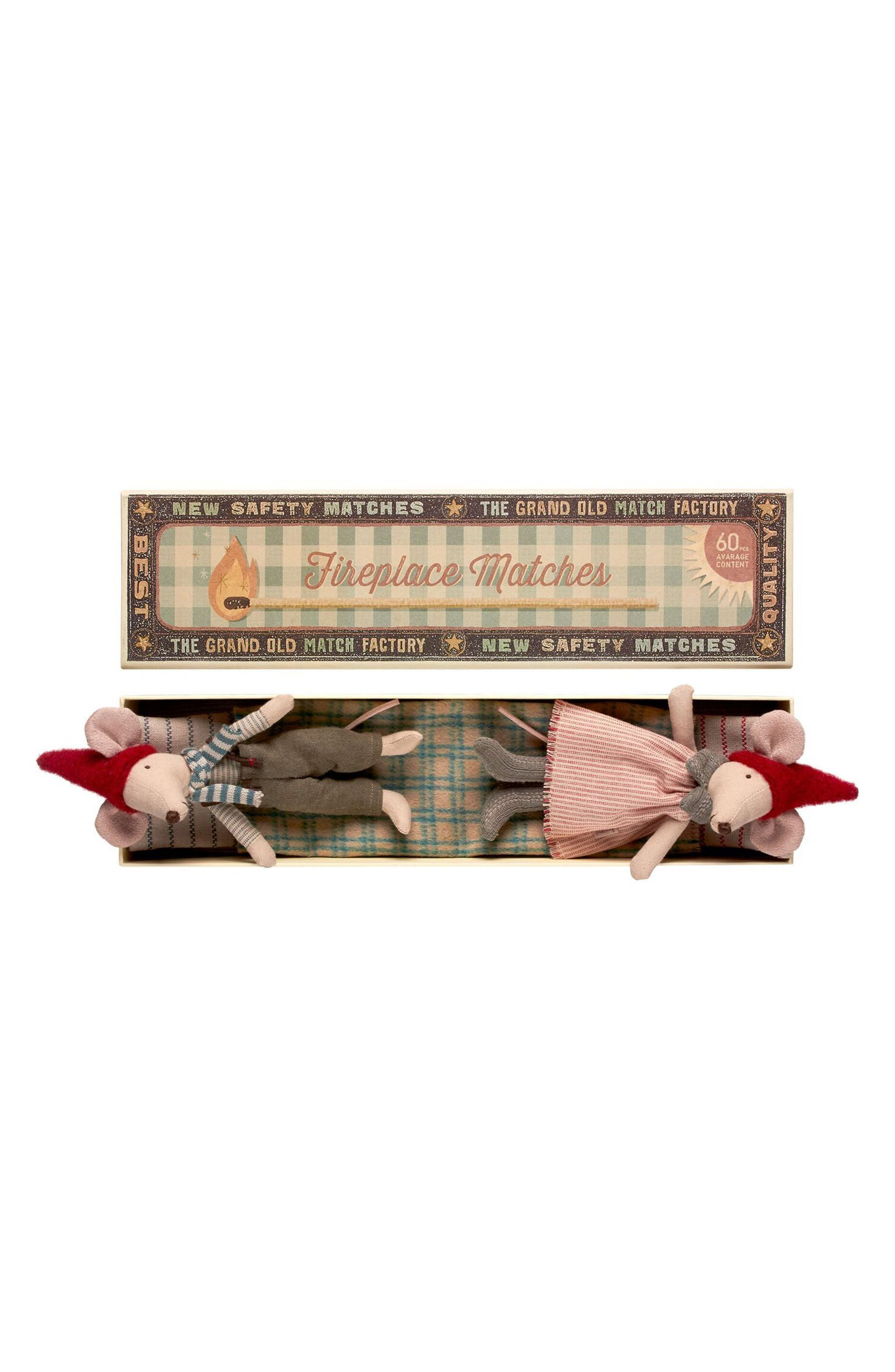 Main Image - Maileg Christmas Mom & Dad Toy Mice in a Matchbox