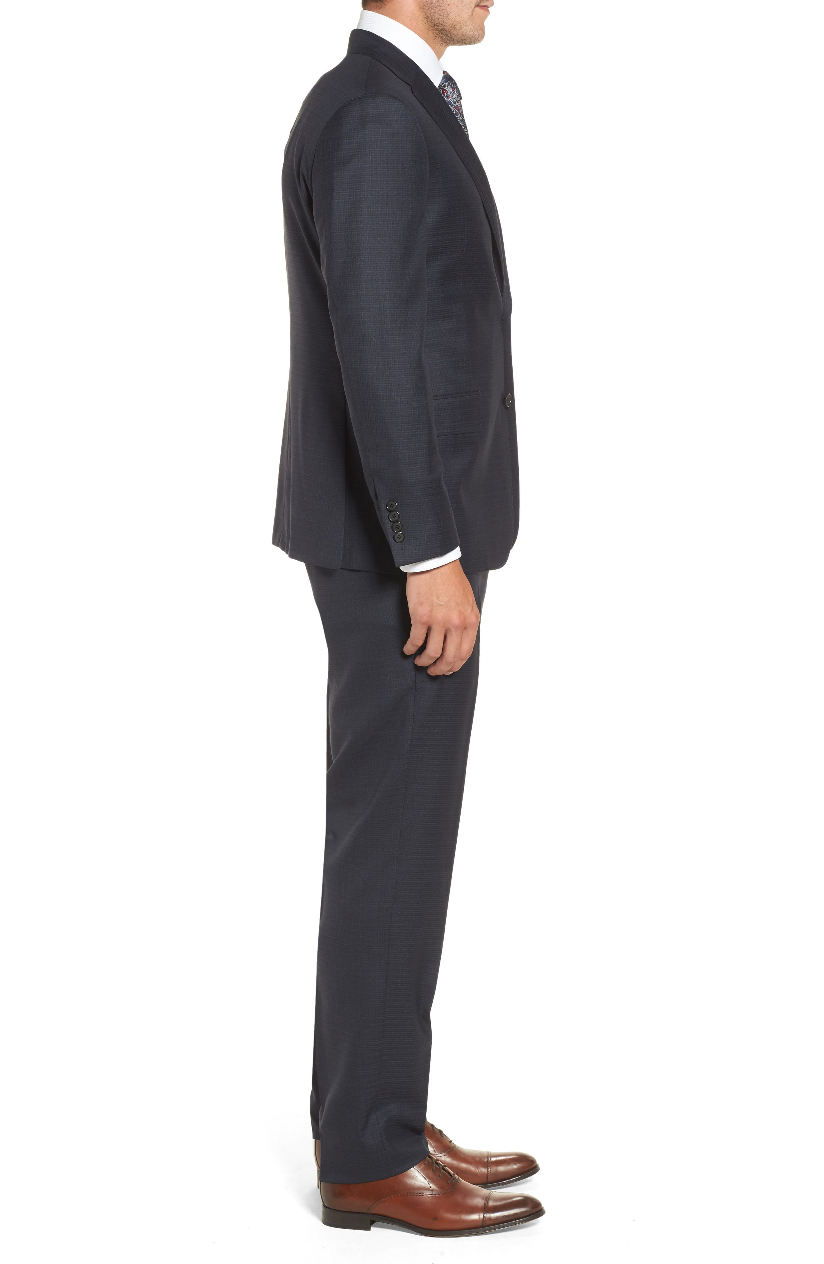 Classic B Fit Check Wool & Cashmere Suit,                             Alternate thumbnail 3, color,                             Navy