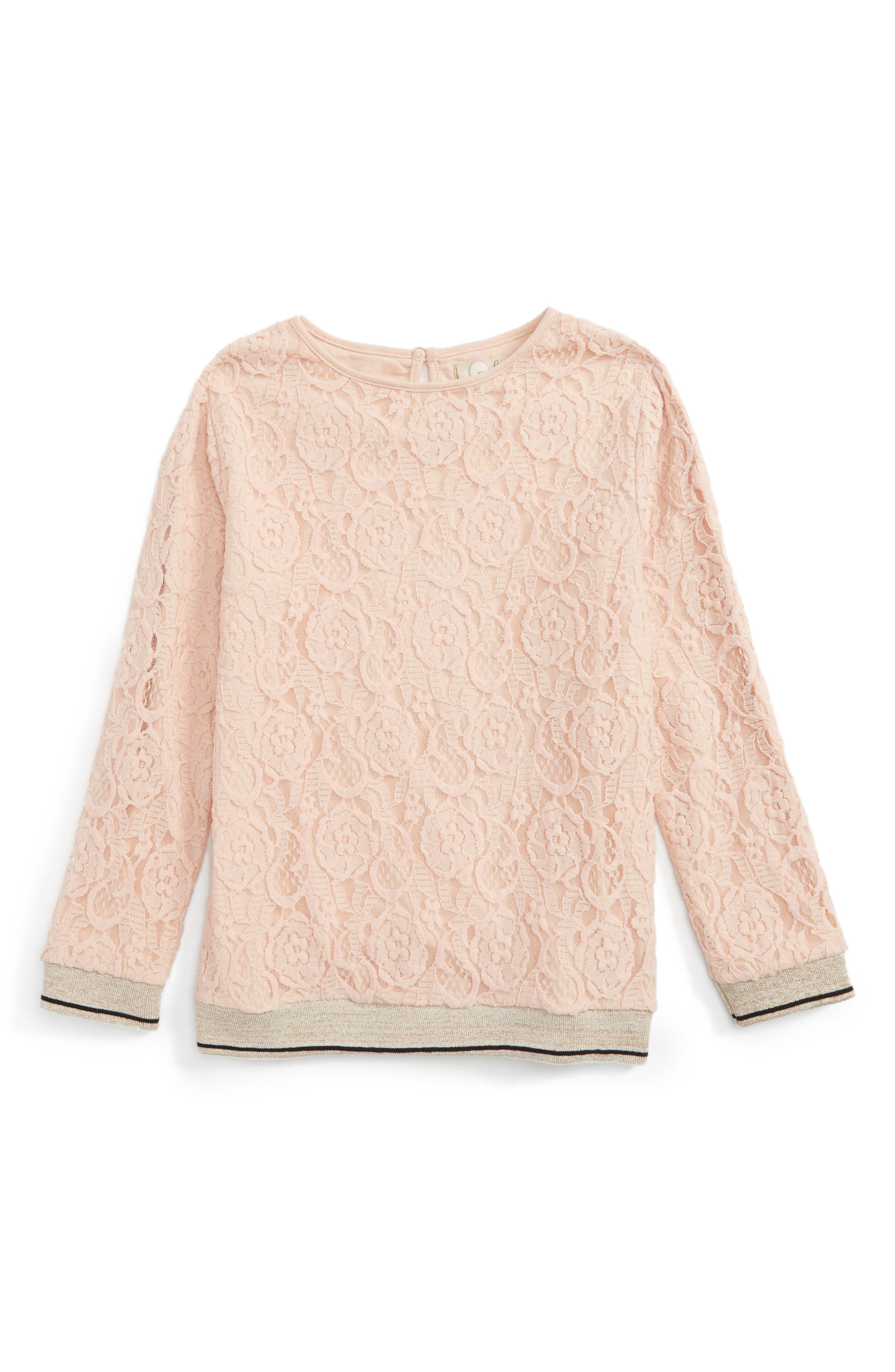 Alternate Image 1 Selected - Peek Grace Lace Overlay Top (Toddler Girls, Little Girls & Big Girls)