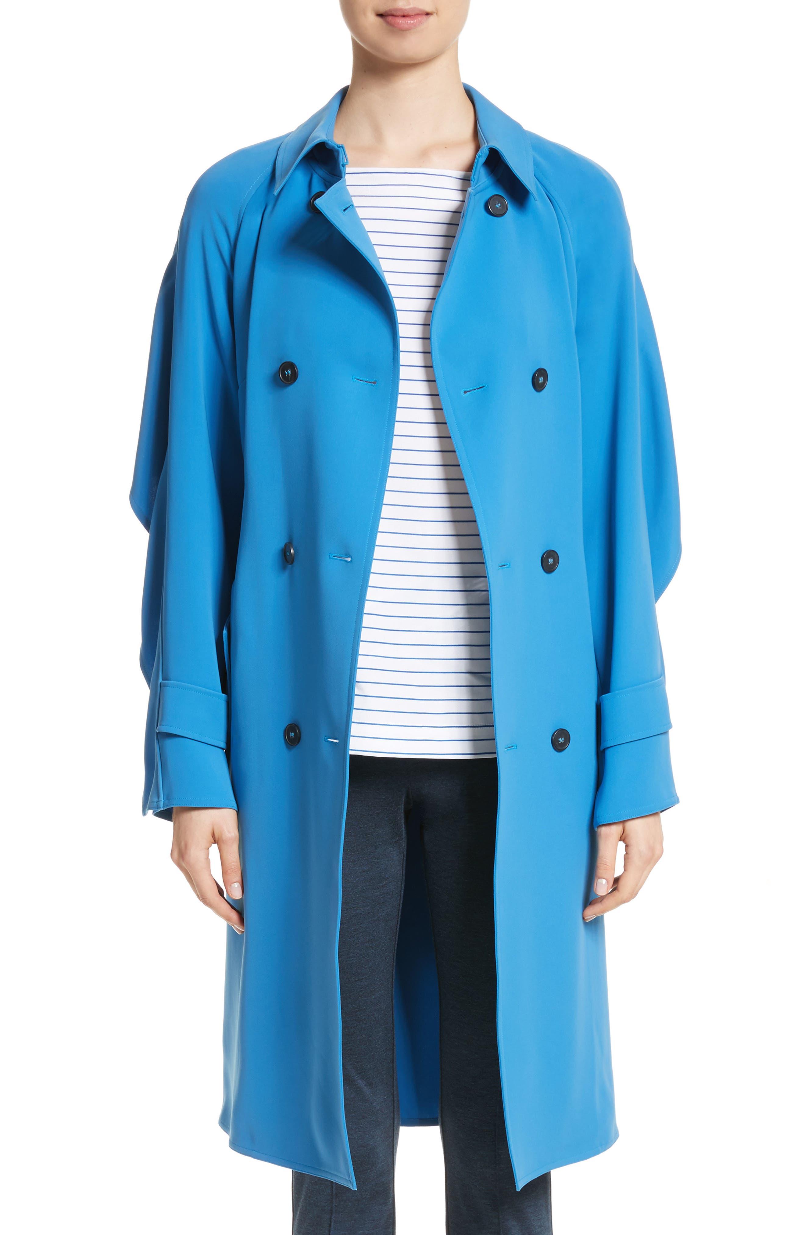 Drapey Twill Raglan Trench Coat,                         Main,                         color, Niagara