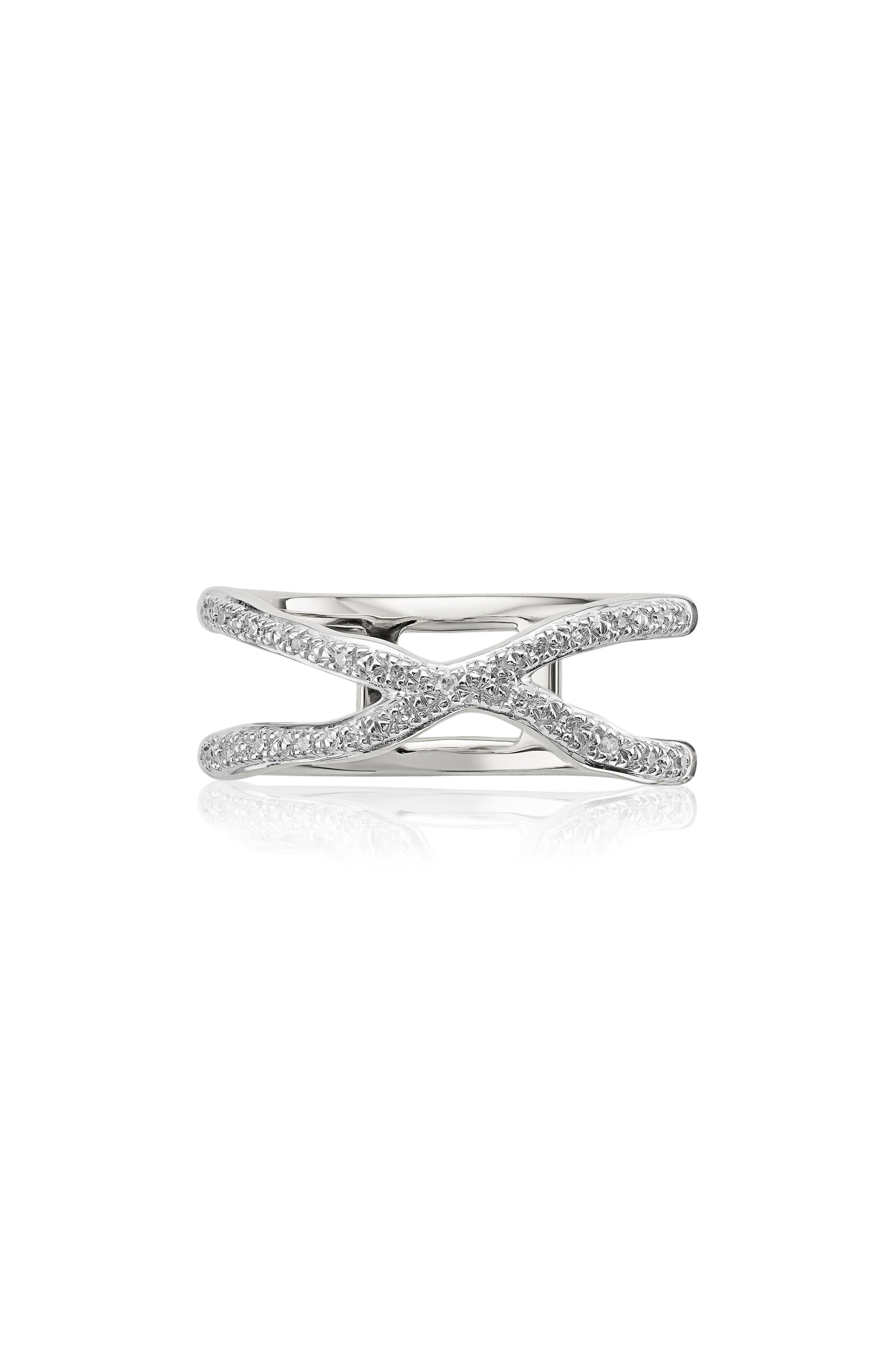 Riva Diamond Ring,                             Main thumbnail 1, color,                             Silver/ Diamond