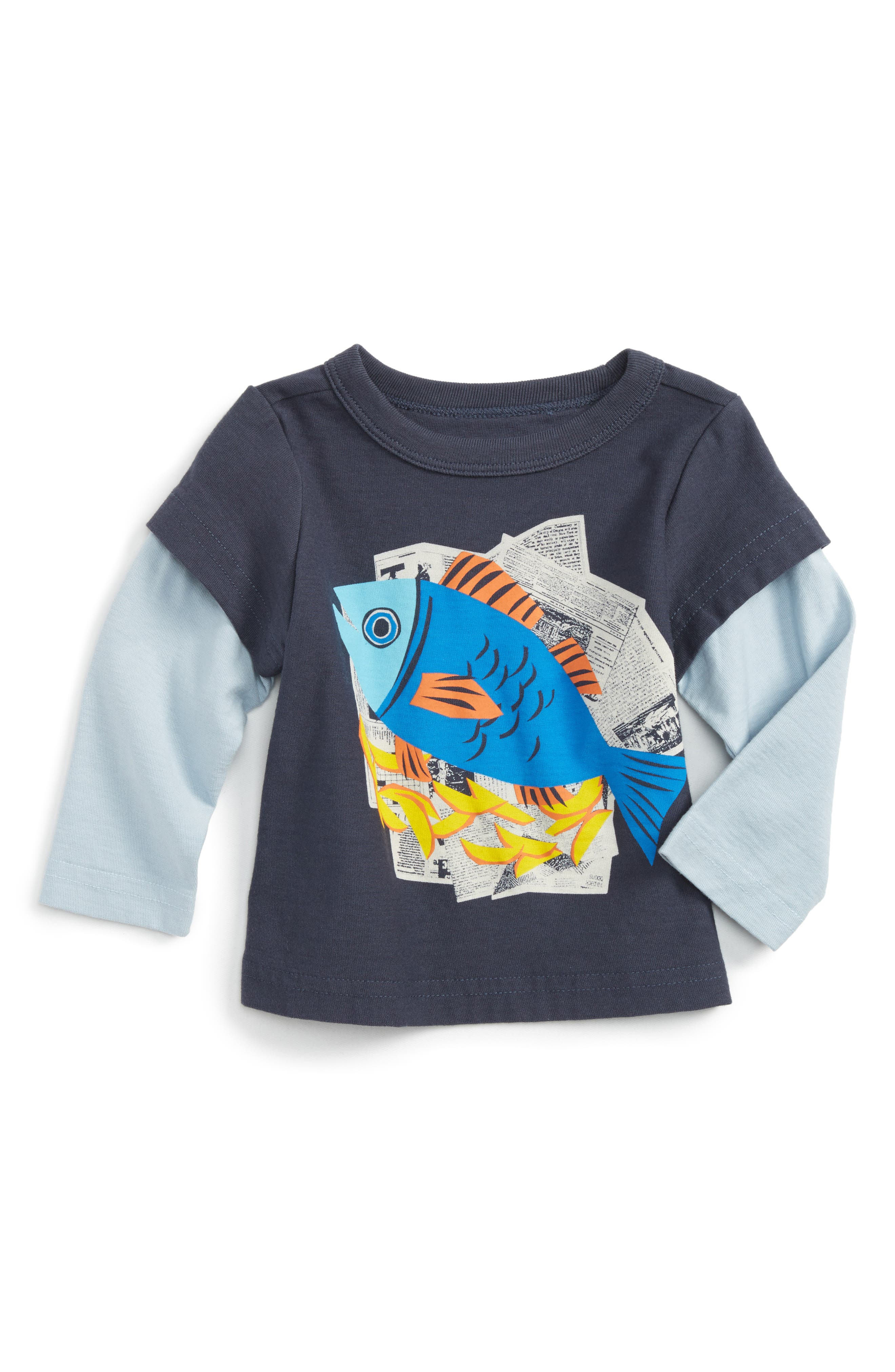 Main Image - Tea Collection Fish & Chips Graphic T-Shirt (Baby Boys)