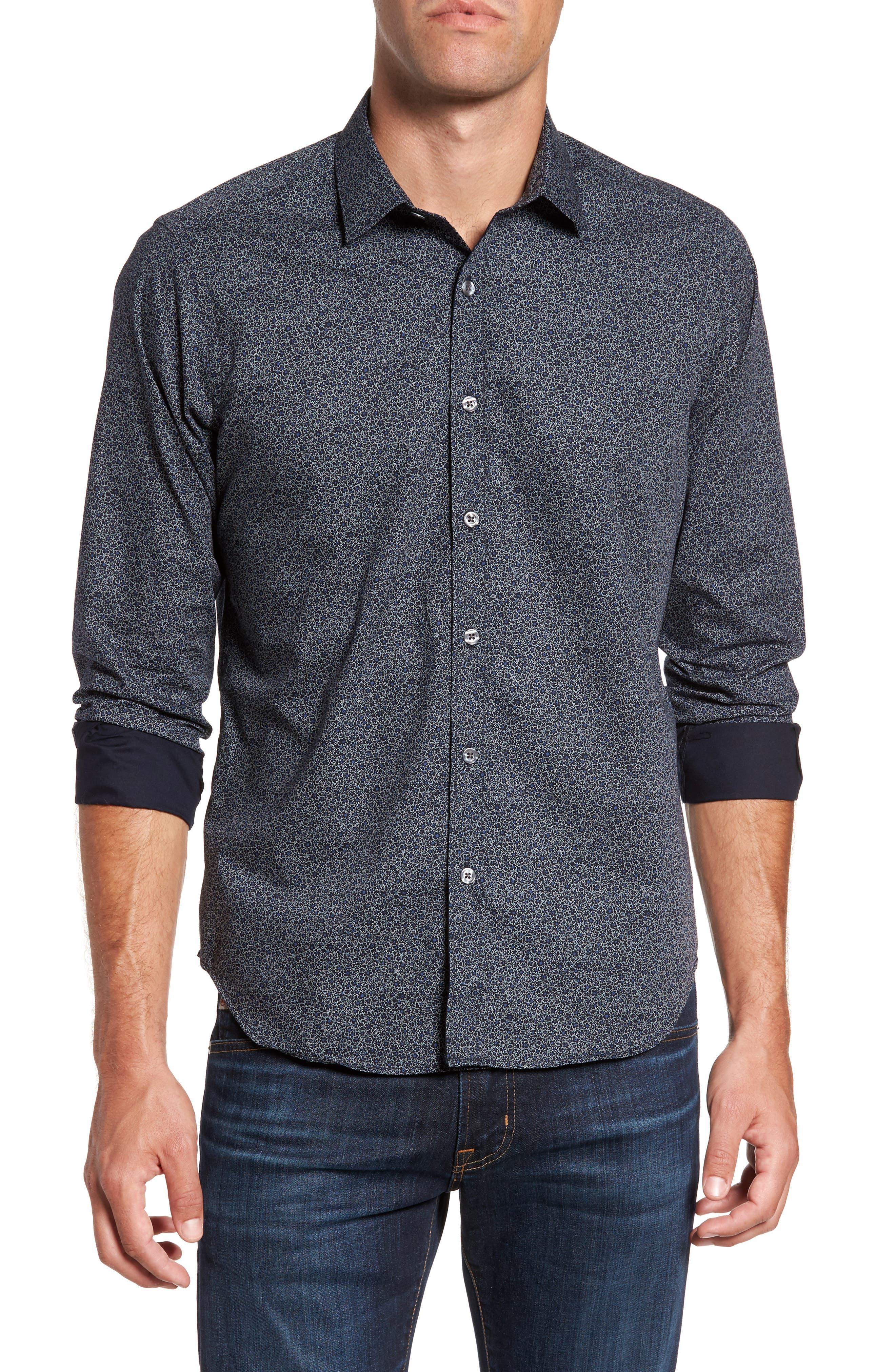 Jackson Slim Fit Floral Print Sport Shirt,                         Main,                         color, Black