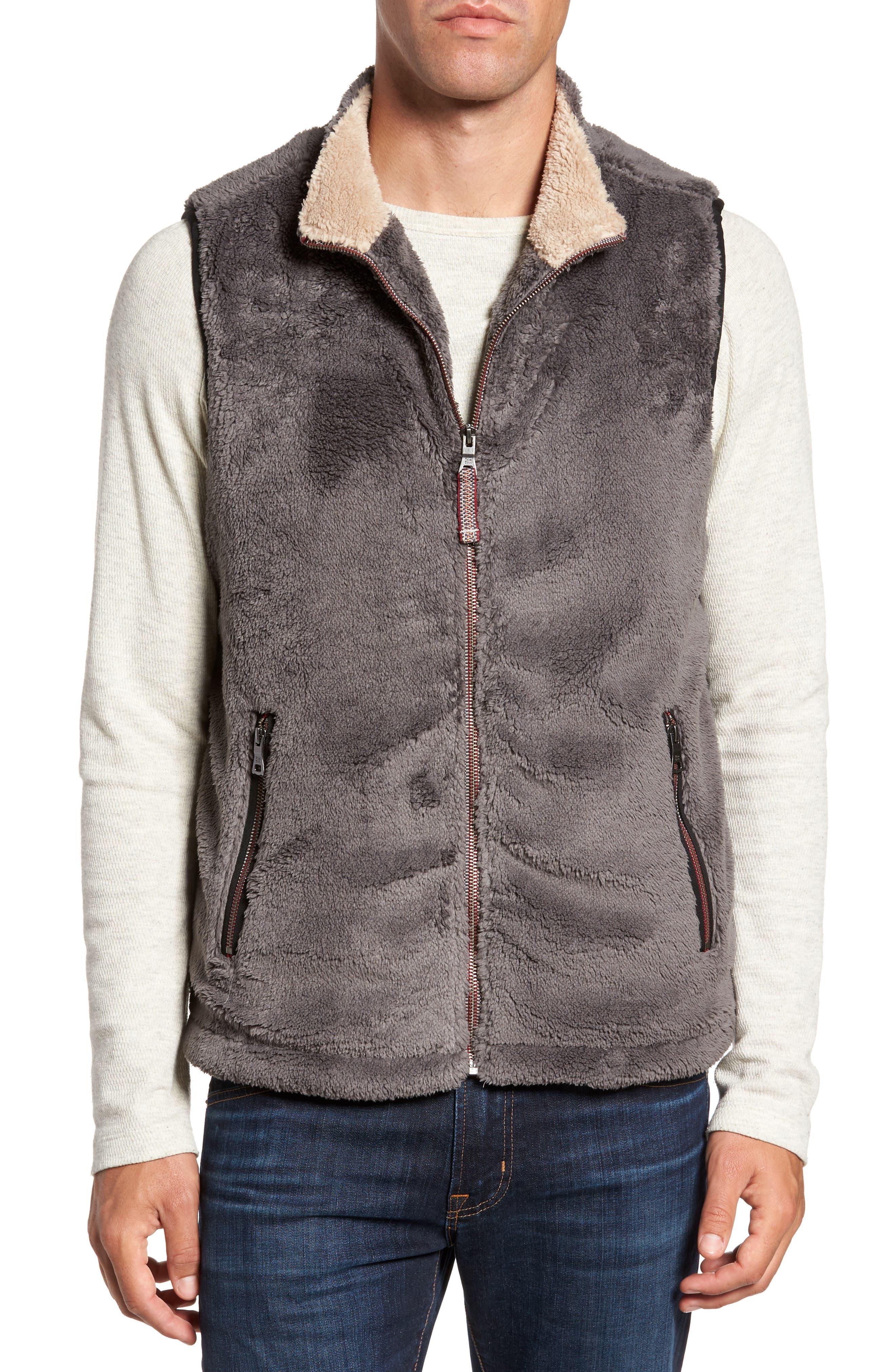Double Up Pebble Pile Faux Fur Vest,                         Main,                         color, Harley Black