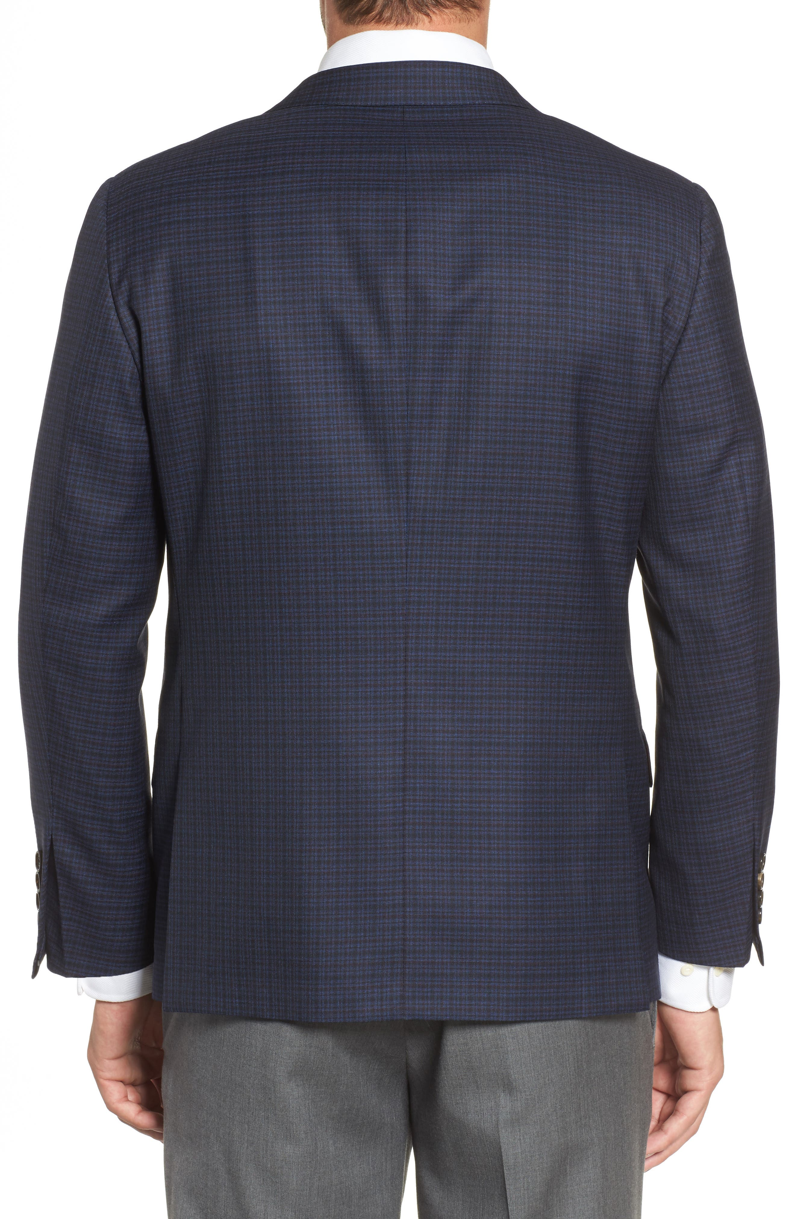 Classic B Fit Check Wool Sport Coat,                             Alternate thumbnail 2, color,                             Navy