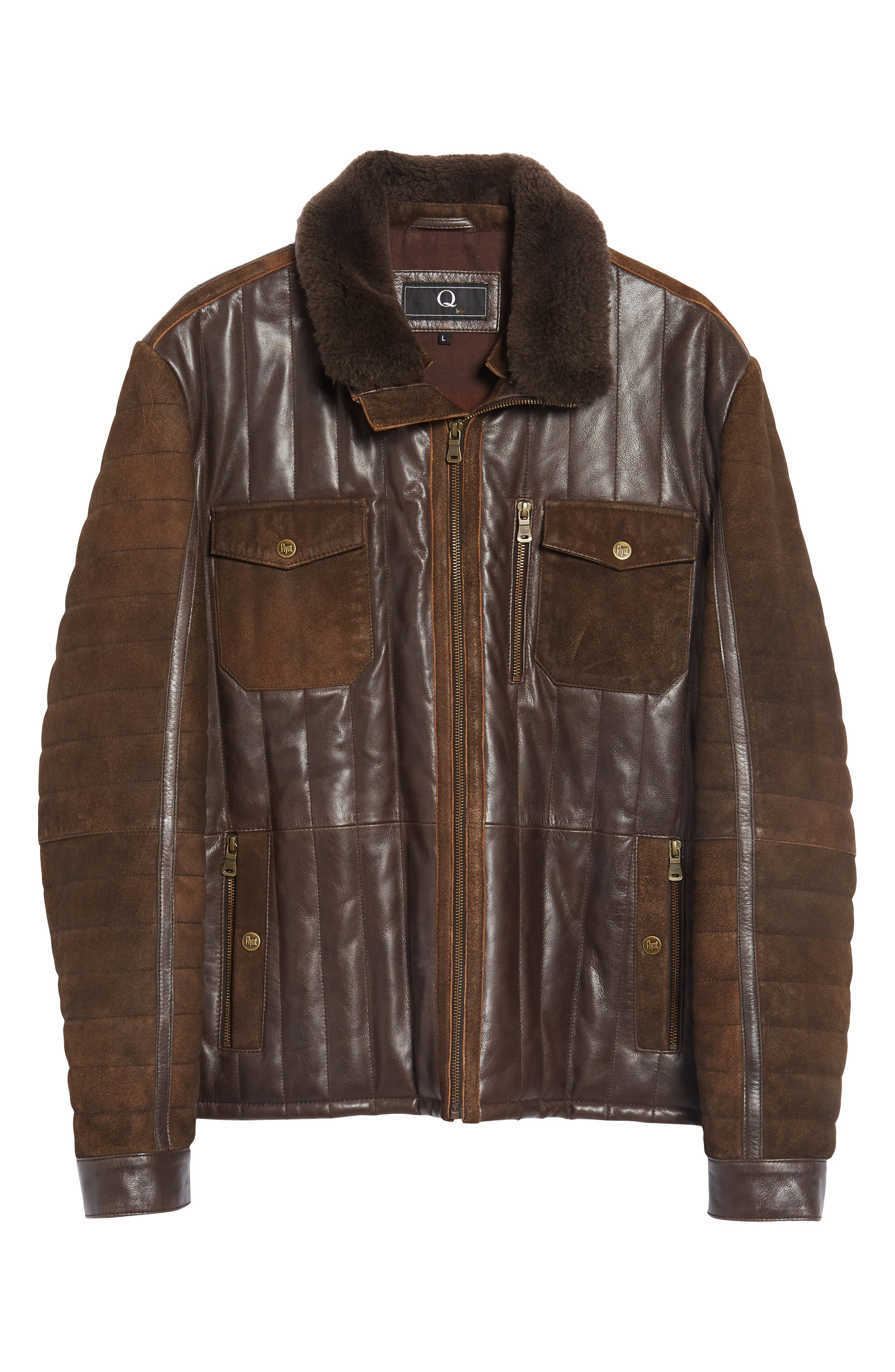 Alternate Image 6  - FLYNT Genuine Shearling Trim Leather Bomber Jacket